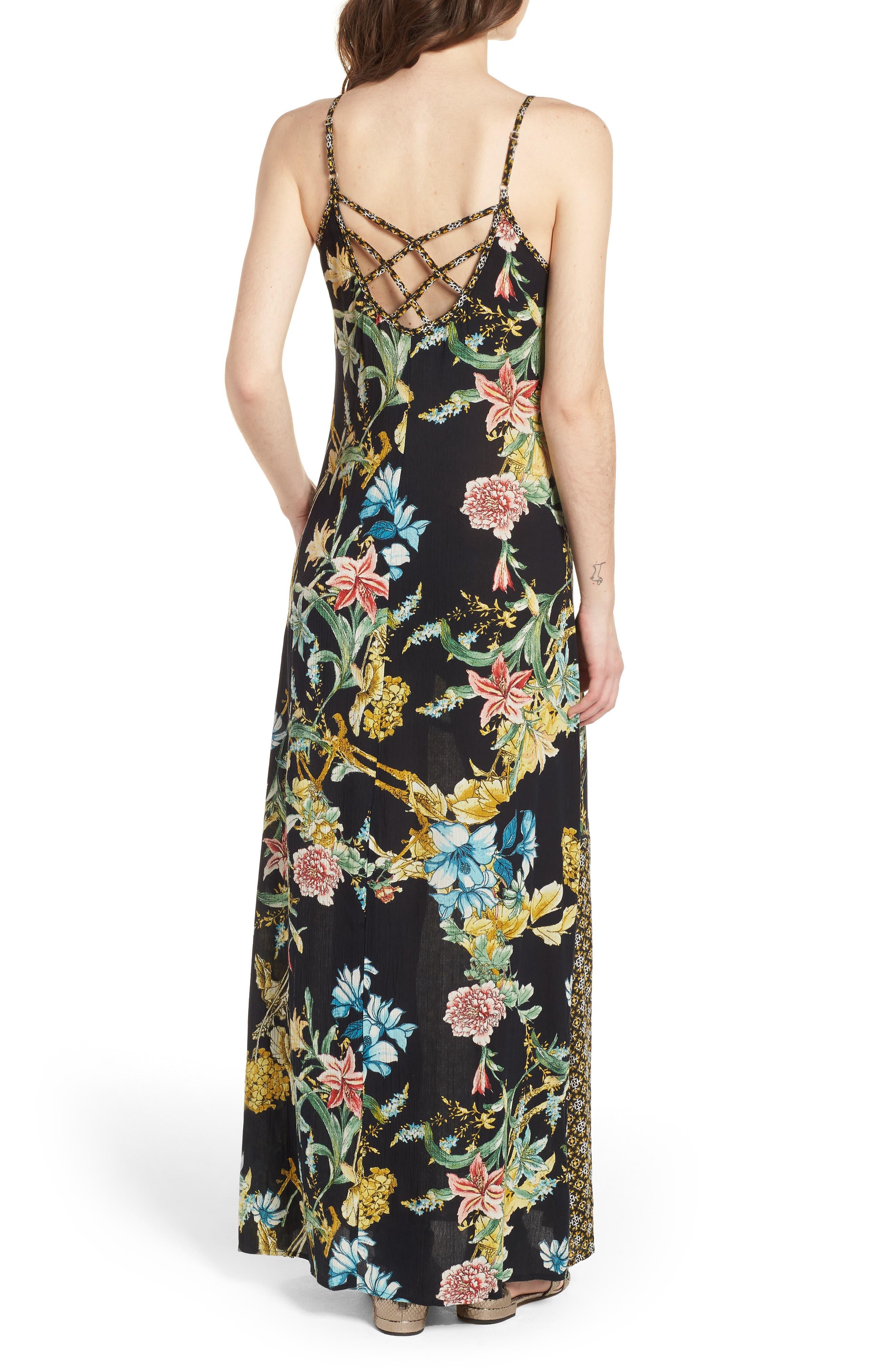 Tropical Mixed Print Maxi Dress,                             Alternate thumbnail 2, color,                             Black/ Yellow
