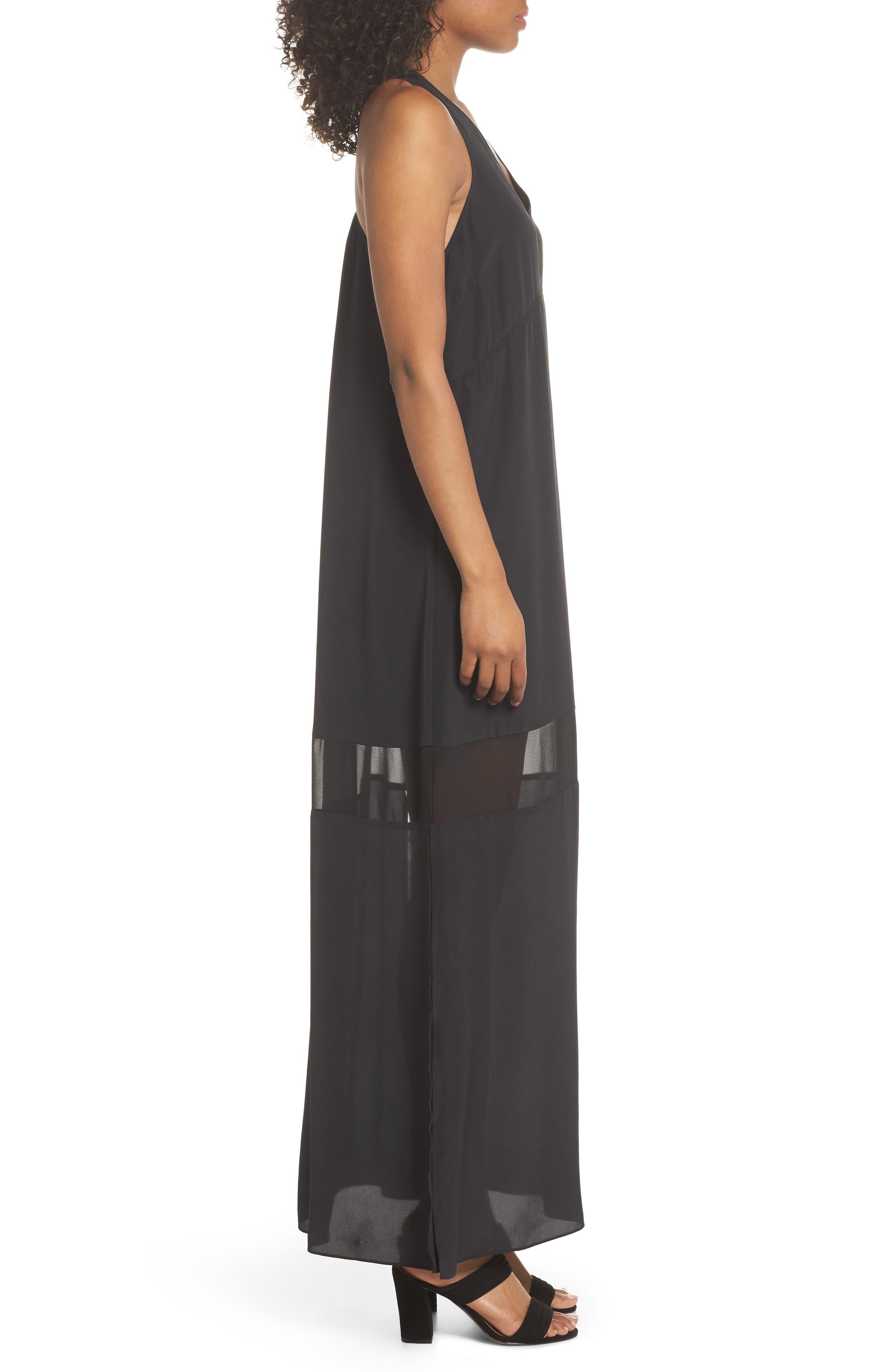 Hampton Maxi Dress,                             Alternate thumbnail 3, color,                             Black