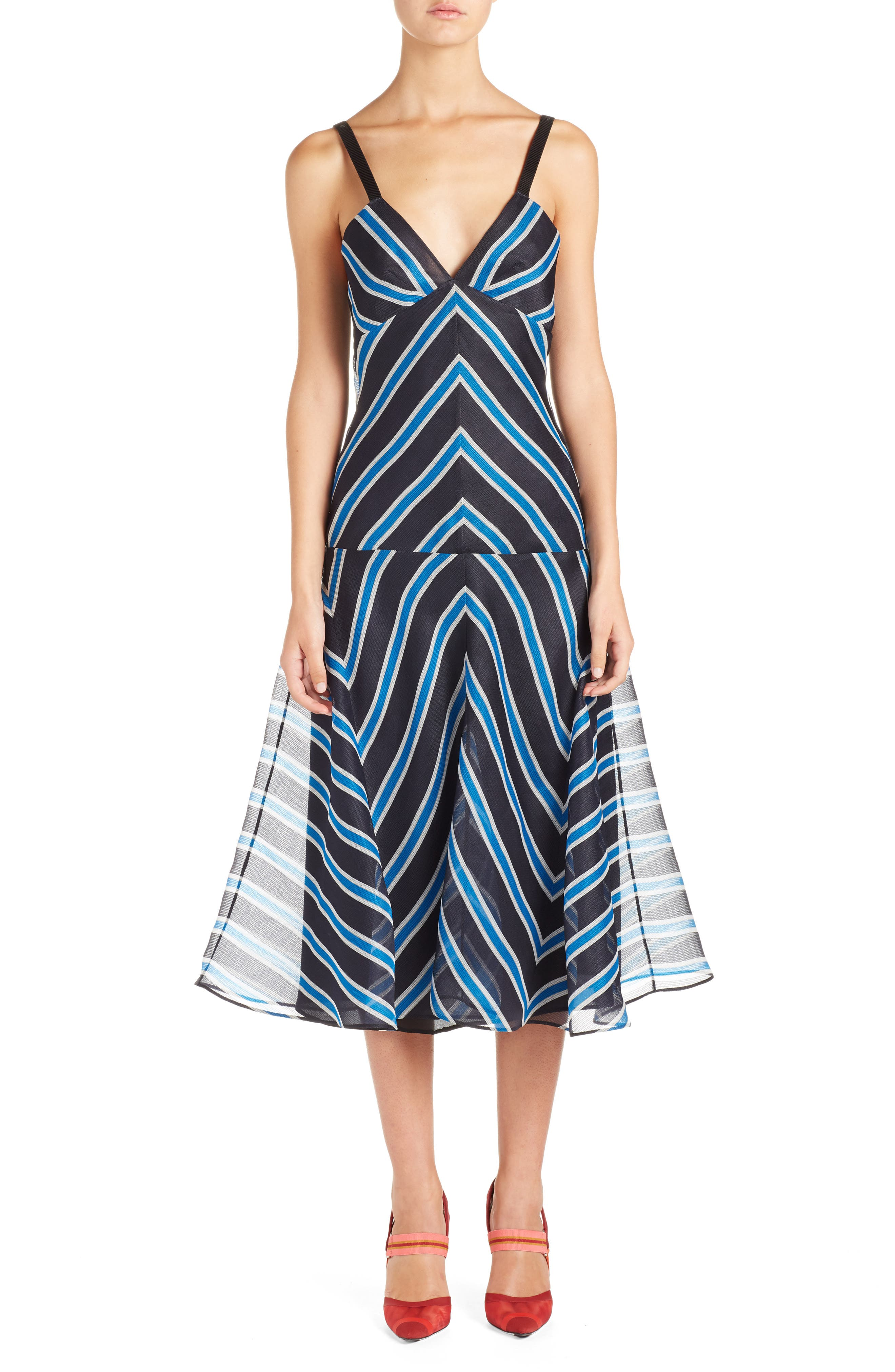 Stripe Silk Convertible Dress,                             Alternate thumbnail 4, color,                             Mercury