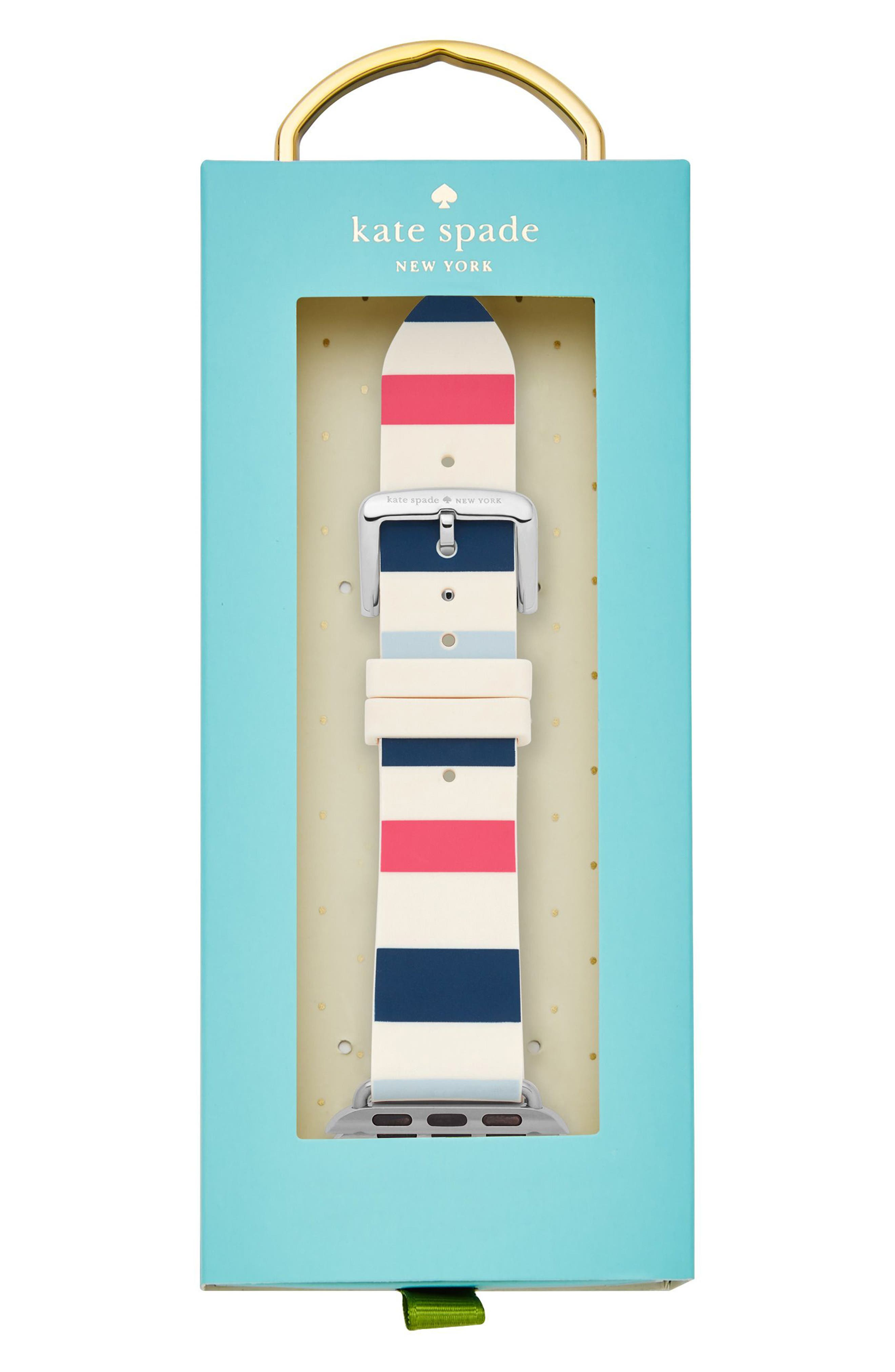 Apple Watch strap, 25mm,                             Alternate thumbnail 2, color,                             Blue/ White/ Pink