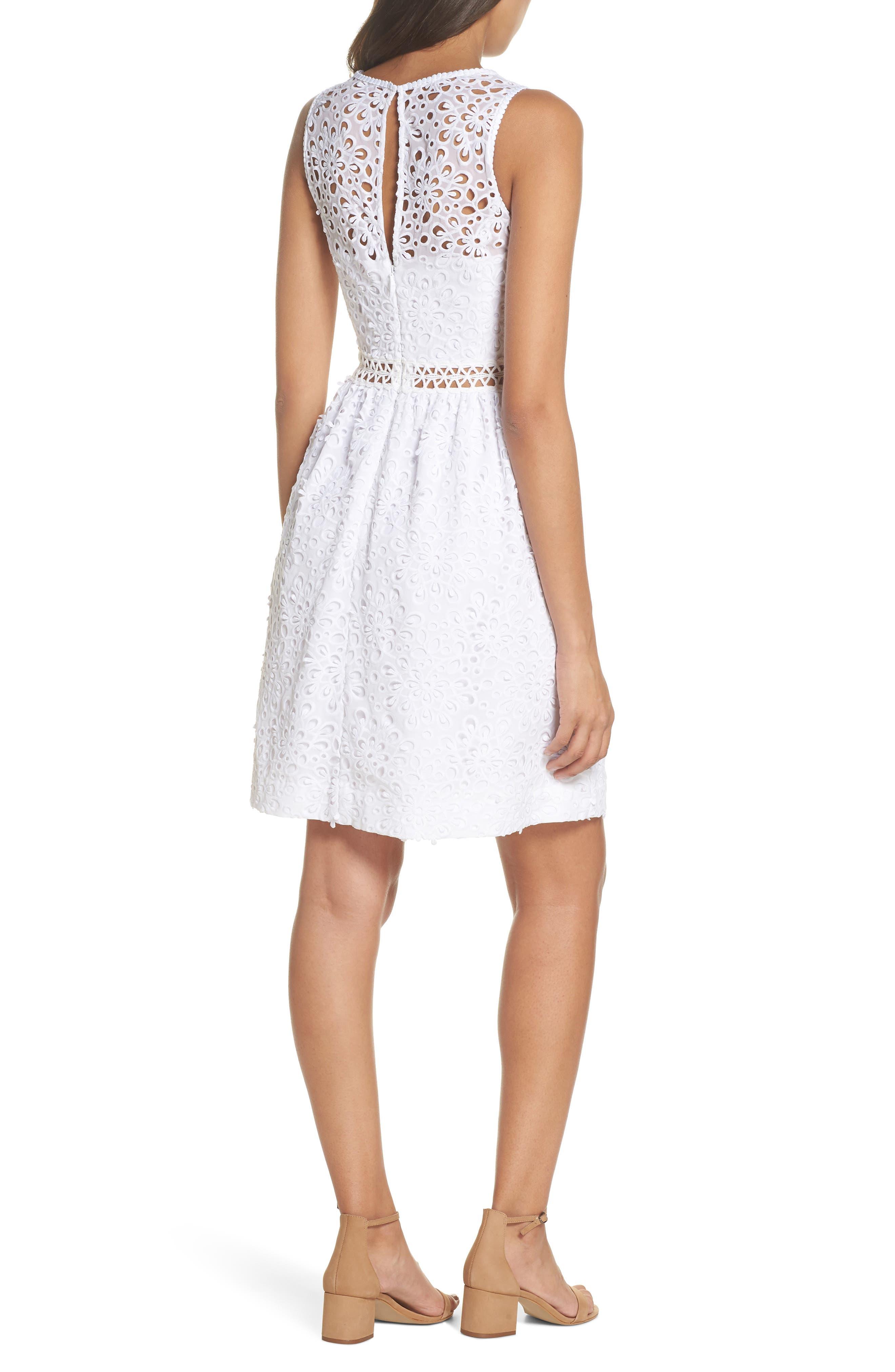 Alivia Eyelet Fit & Flare Dress,                             Alternate thumbnail 2, color,                             Resort White Sea Spray