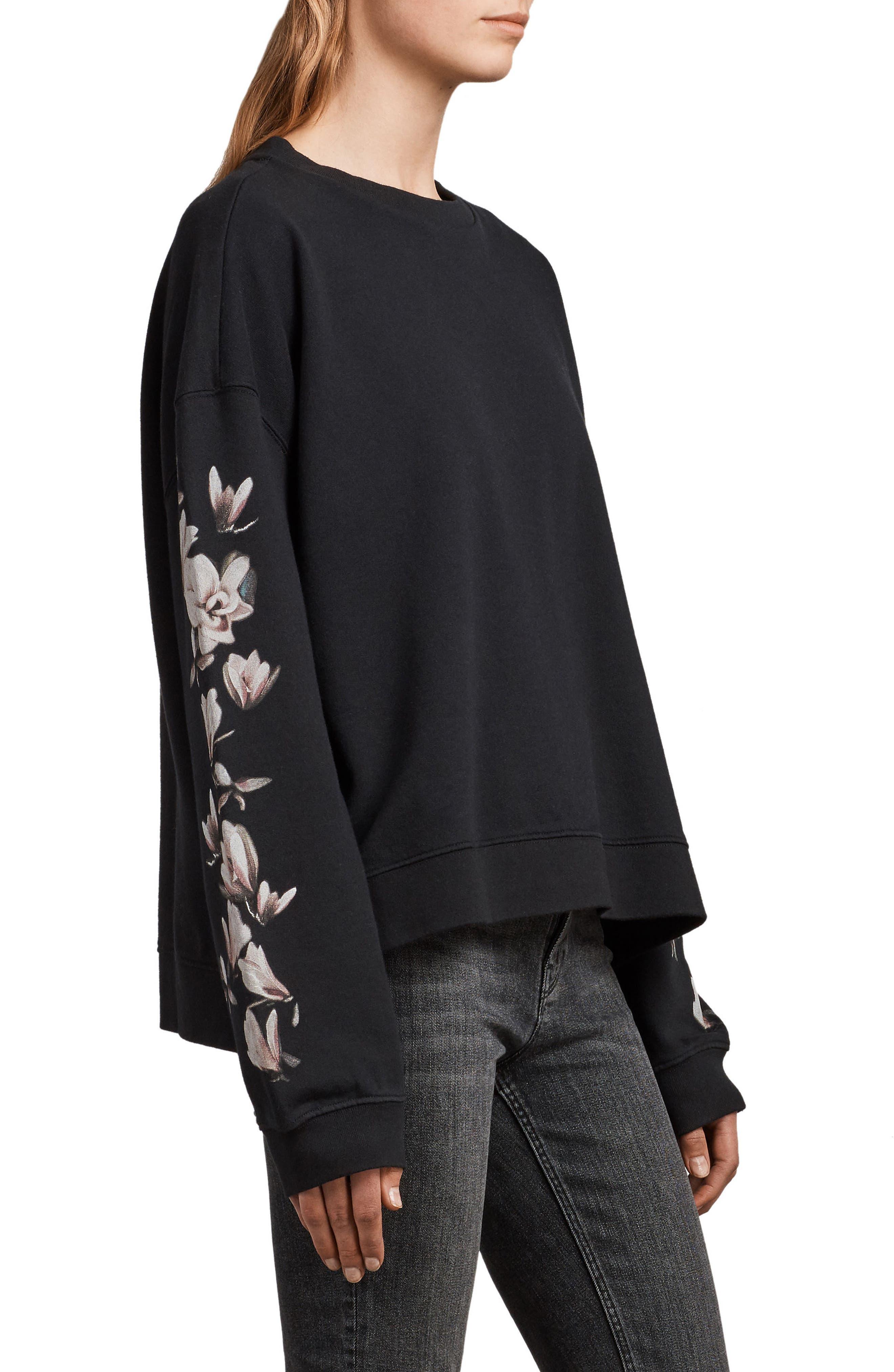 Magnolia Floral Print Cotton Sweatshirt,                             Alternate thumbnail 3, color,                             Black