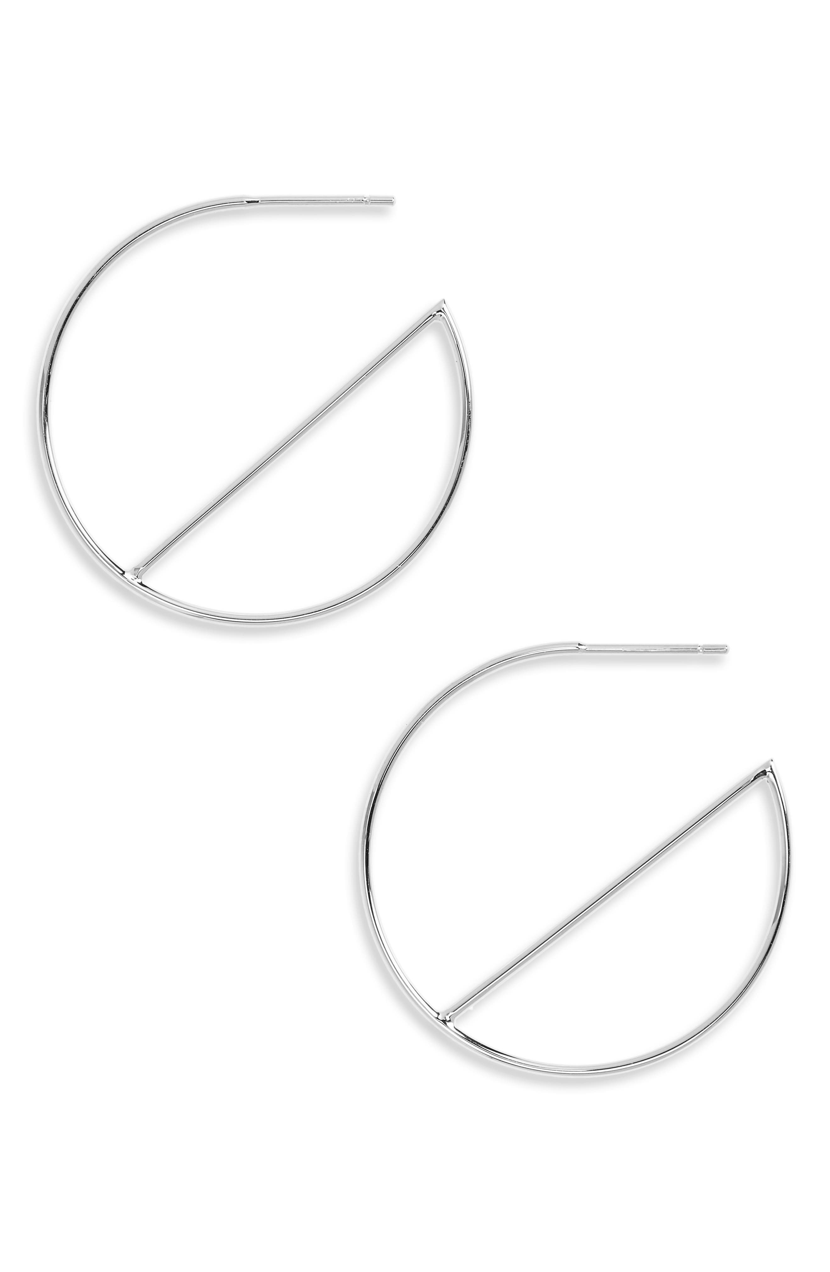 Wire Eclipse Hoops,                             Main thumbnail 1, color,                             White Gold