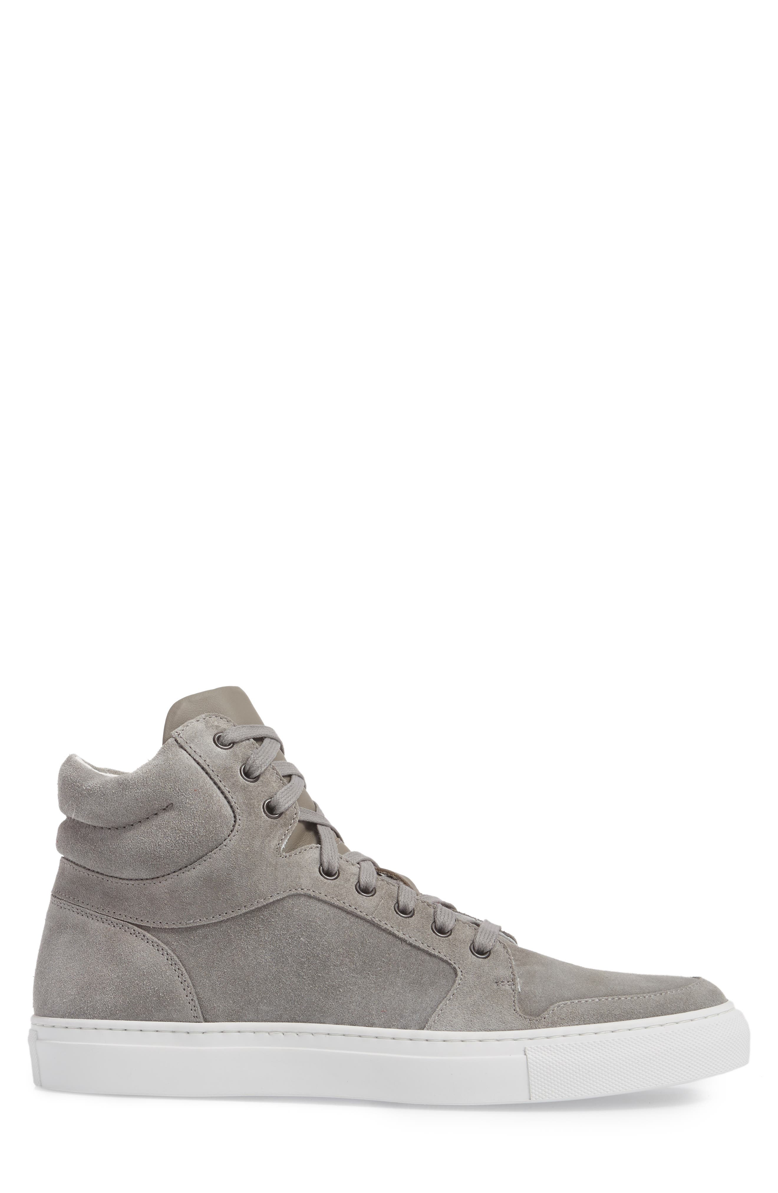 Belmont High Top Sneaker,                             Alternate thumbnail 3, color,                             Grey Suede