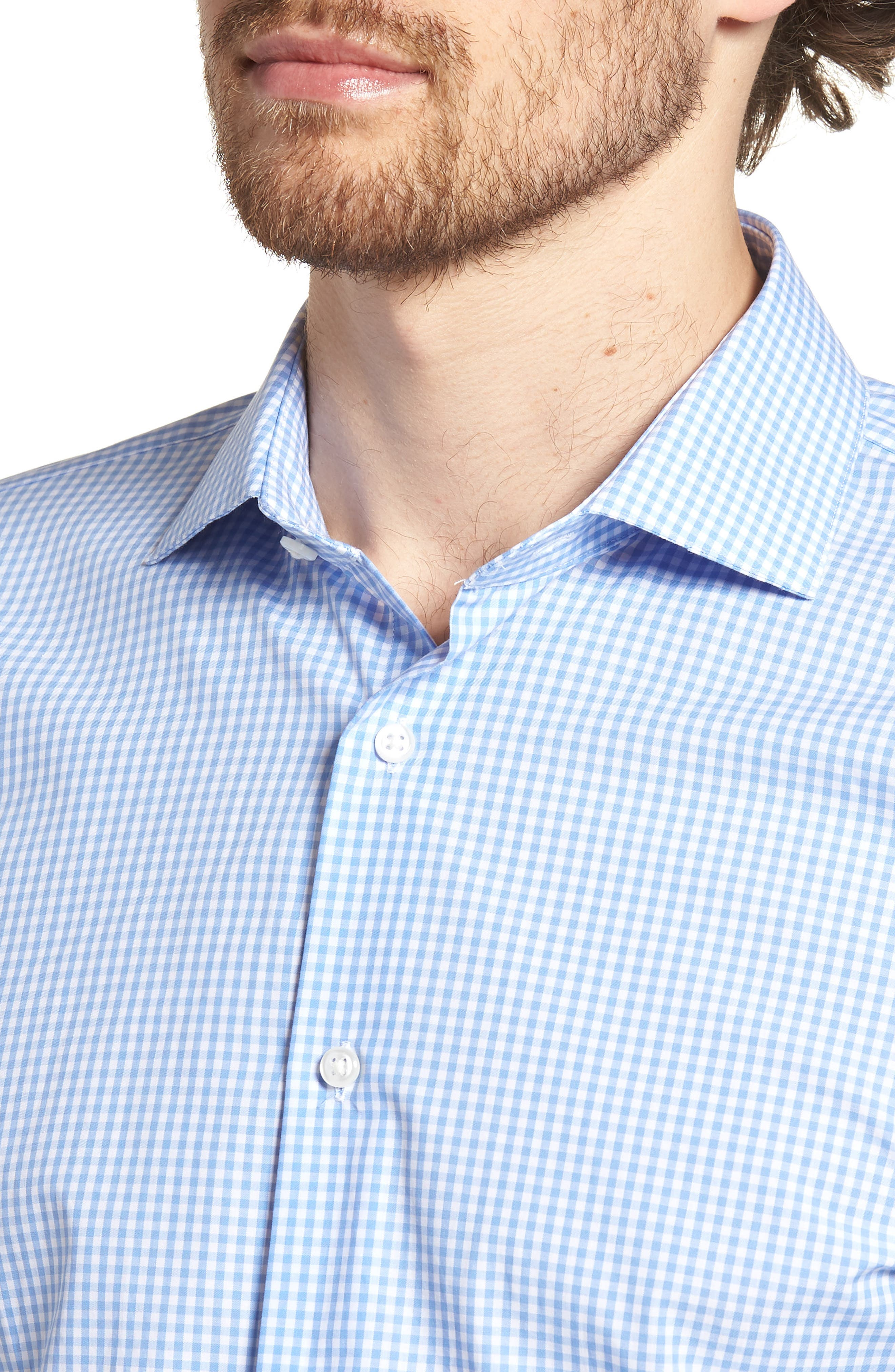 Trim Fit Check Dress Shirt,                             Alternate thumbnail 2, color,                             Blue Cornflower