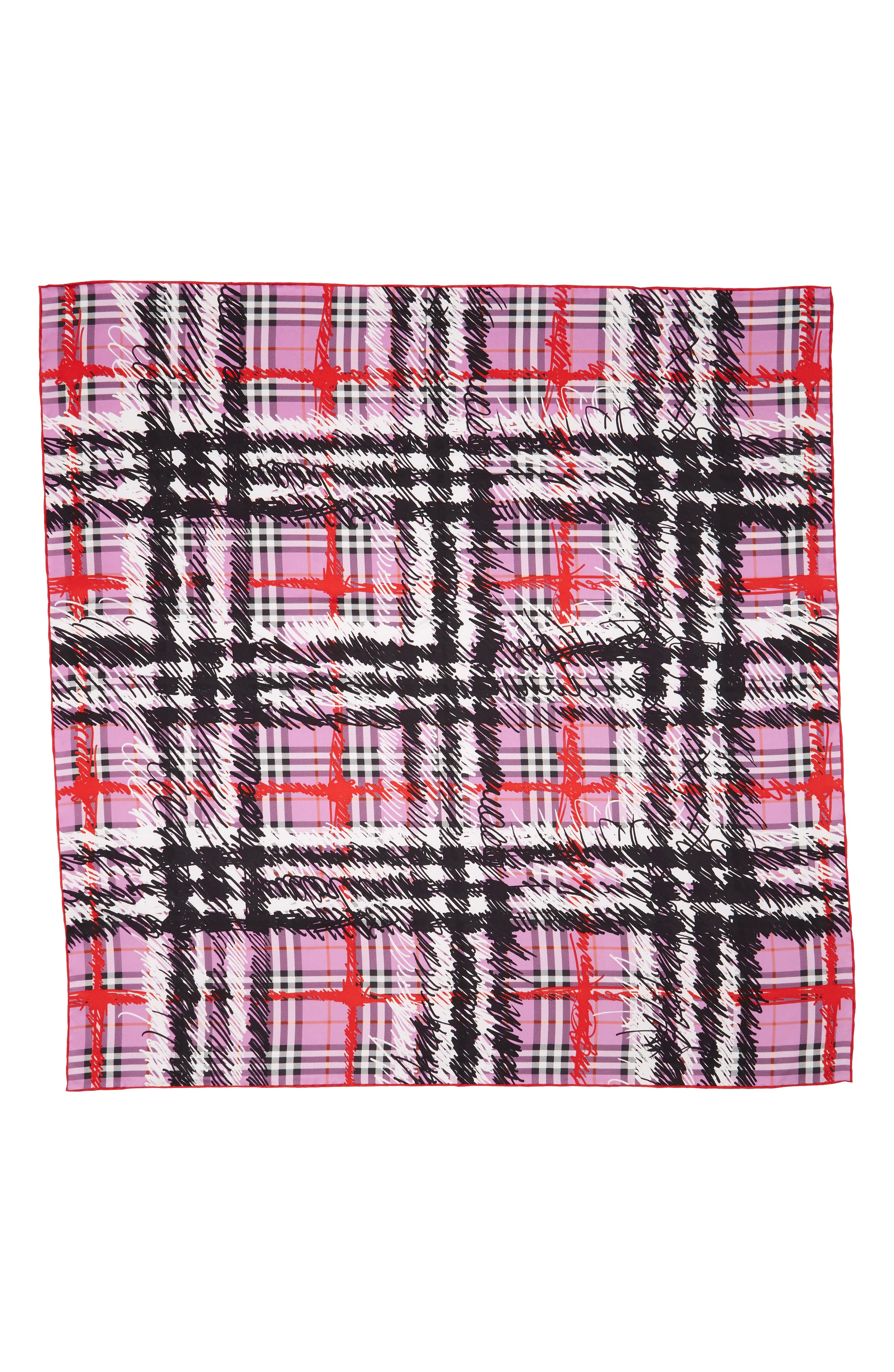 Scribble Vintage Check Silk Square Scarf,                             Alternate thumbnail 2, color,                             Fuchsia Pink