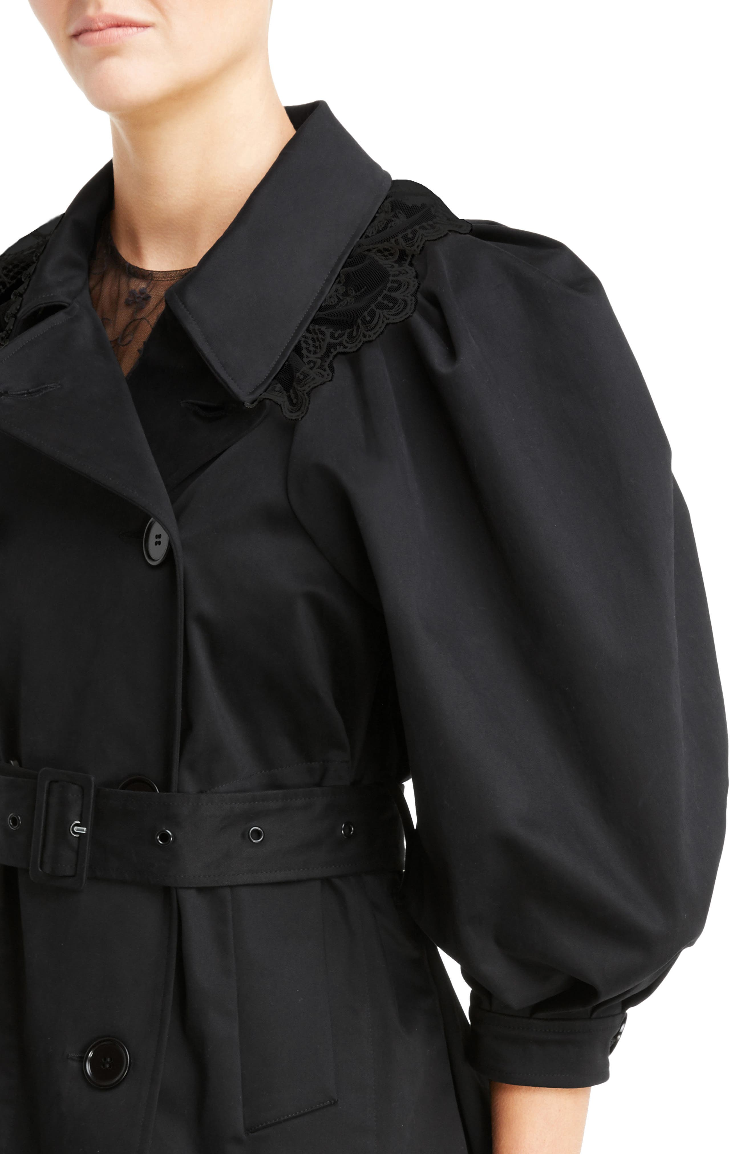 Lace Trim Pea Jacket,                             Alternate thumbnail 4, color,                             Black Black