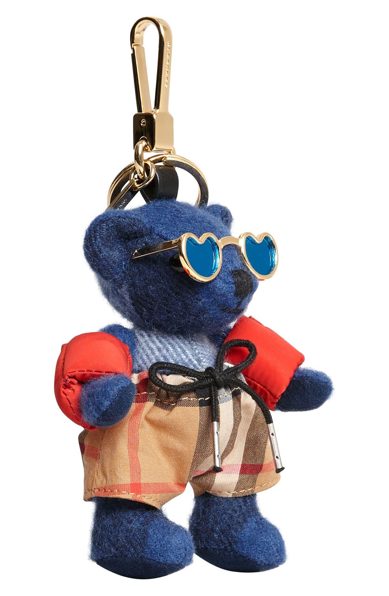 Thomas Bear Beach Bag Charm,                             Alternate thumbnail 4, color,                             Cadet Blue