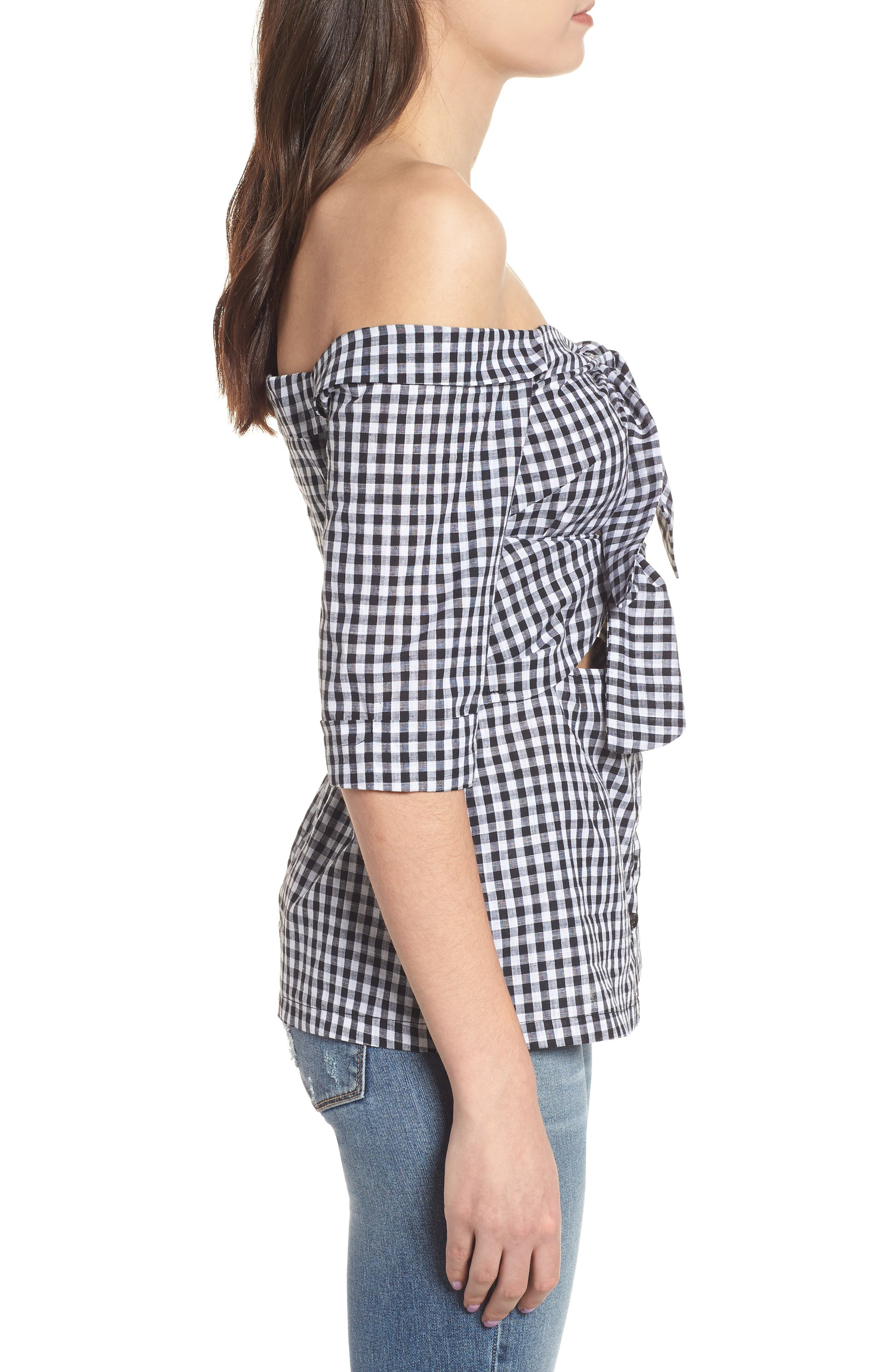 Ultimate Desire Off the Shoulder Top,                             Alternate thumbnail 3, color,                             Gingham