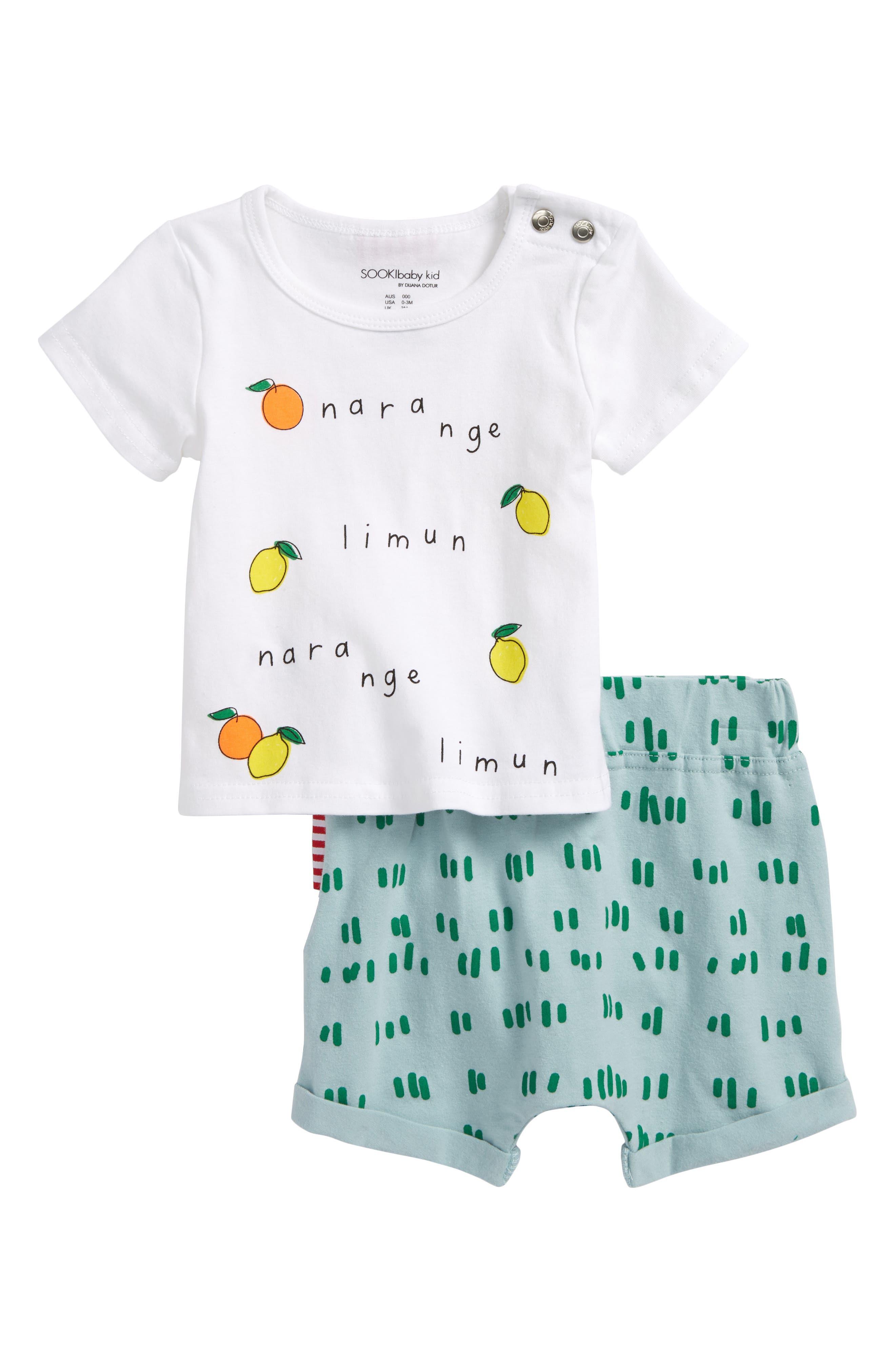 SOOKIbaby Narange Shirt & Shorts Set (Baby & Toddler)