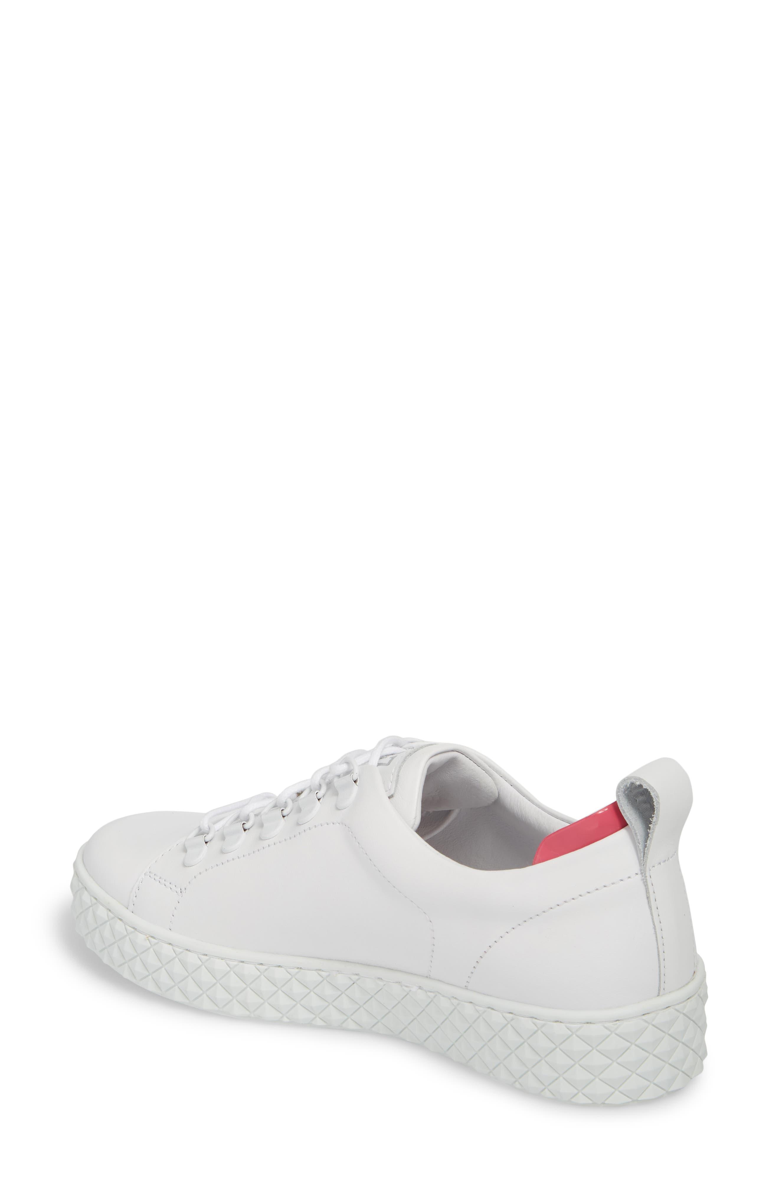 Sol Sneaker,                             Alternate thumbnail 2, color,                             Optic White/ Fuchsia Leather