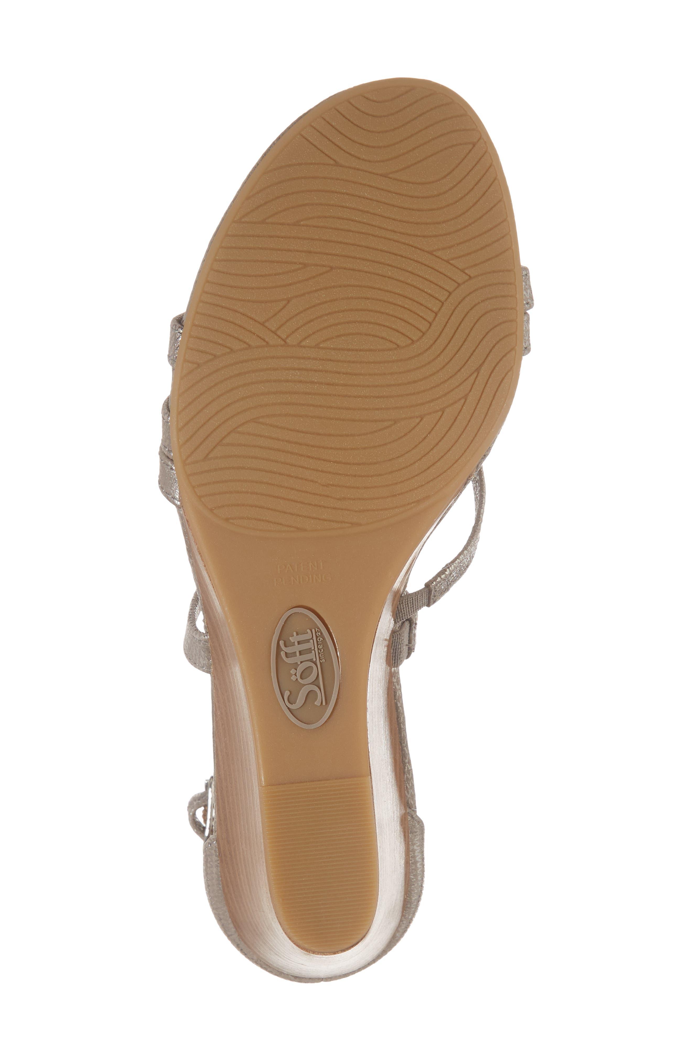 Mecina Wedge Sandal,                             Alternate thumbnail 6, color,                             Silver Metallic Leather