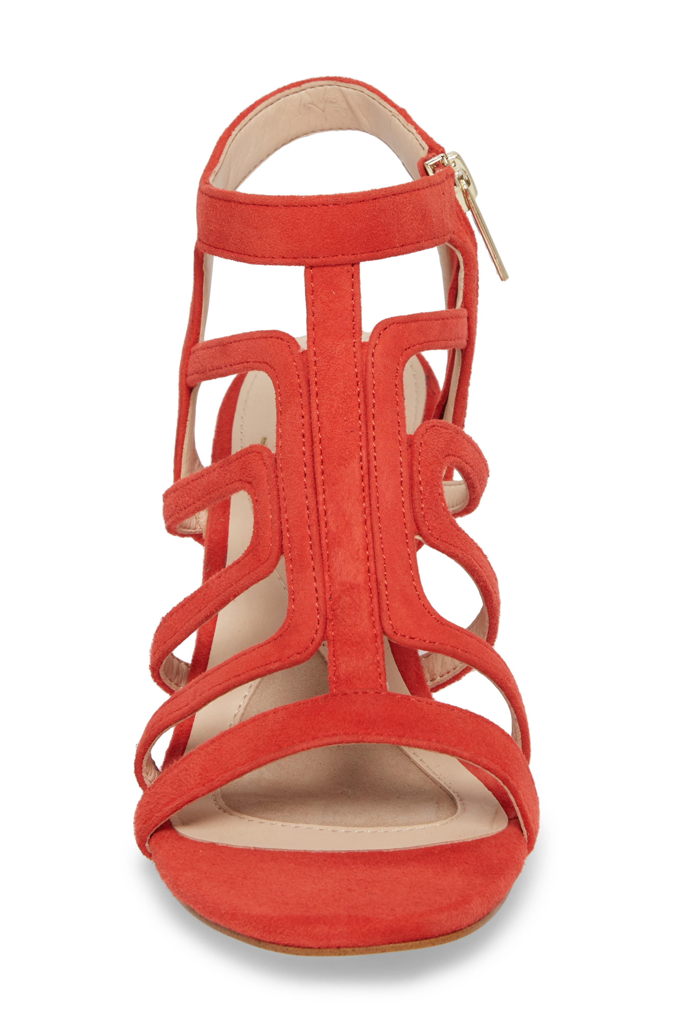 Lina Sandal,                             Alternate thumbnail 4, color,                             Lipstick Red Suede