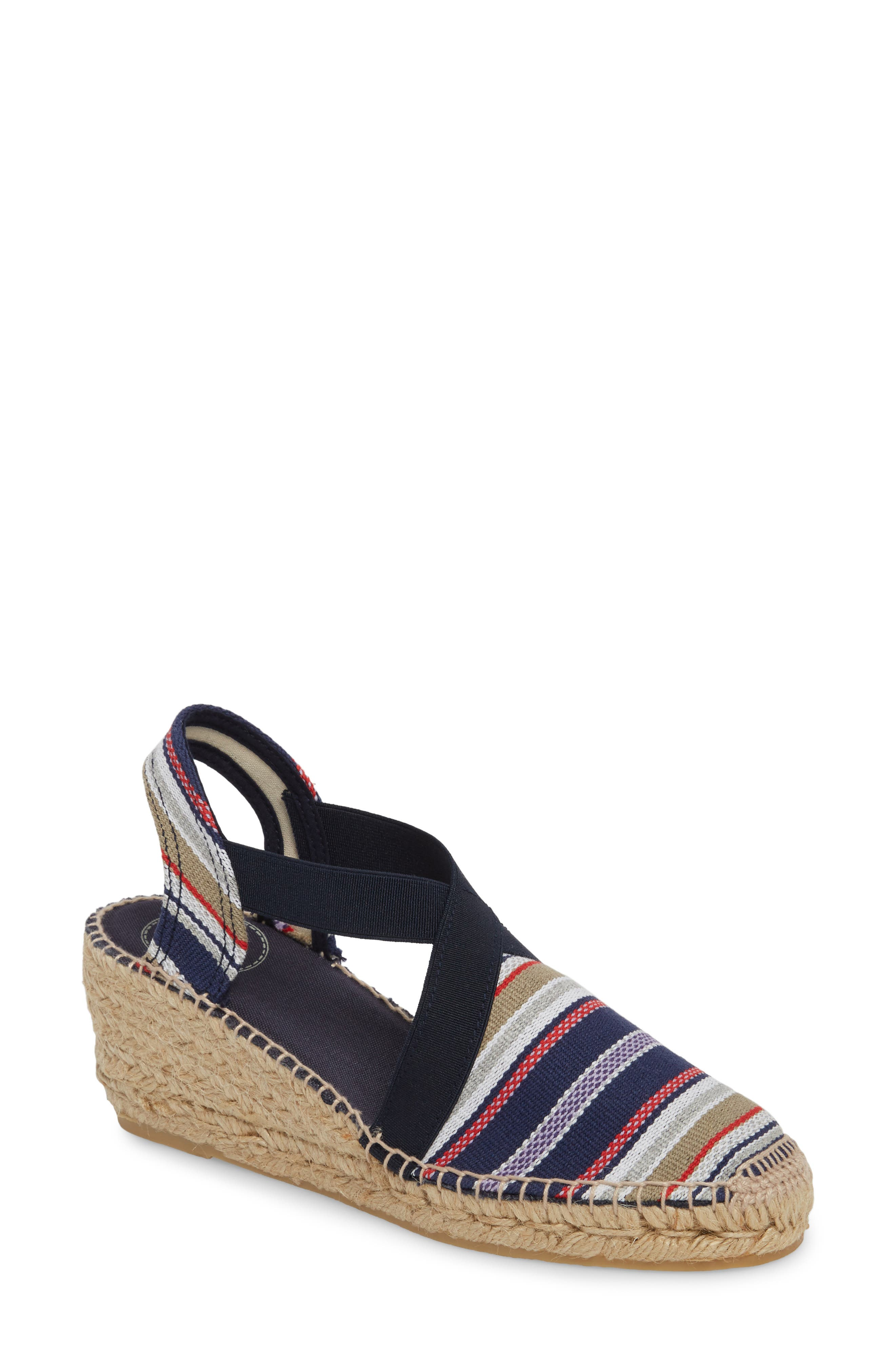 'Tarbes' Espadrille Wedge Sandal,                             Main thumbnail 1, color,                             Navy Fabric