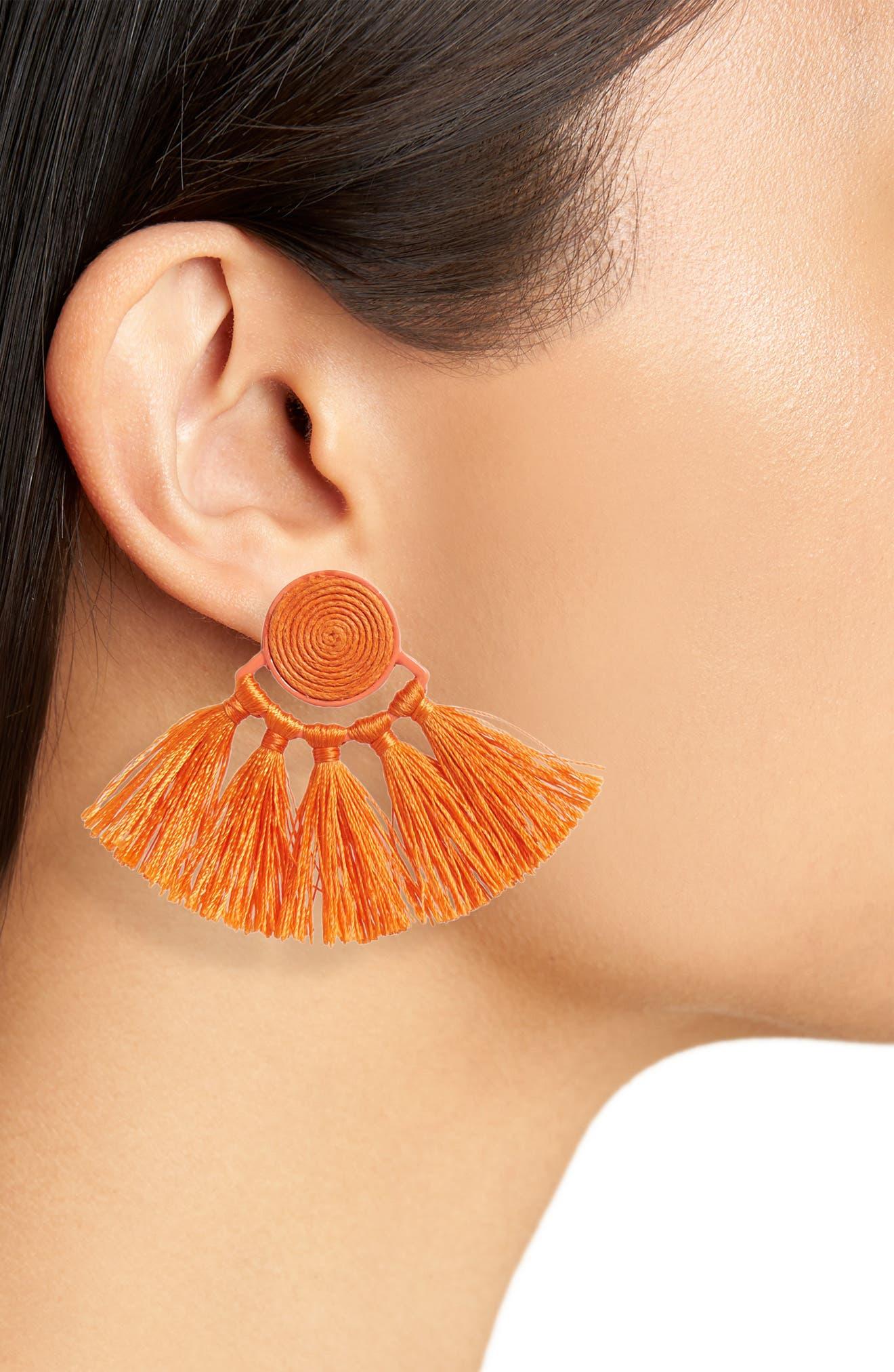 Swirl Tassel Earrings,                             Alternate thumbnail 2, color,                             Orange