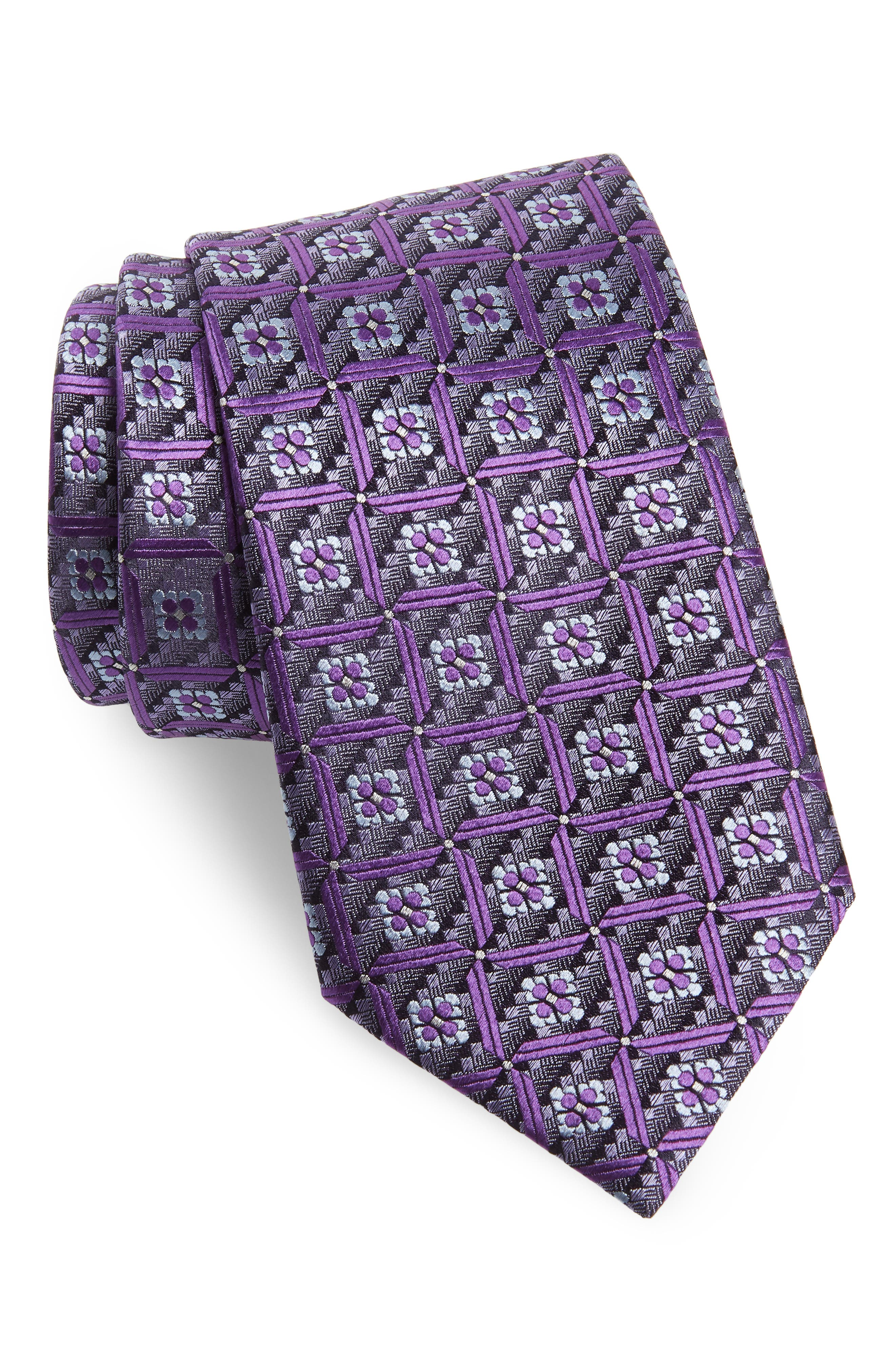Geometric Silk Tie,                         Main,                         color, Purple
