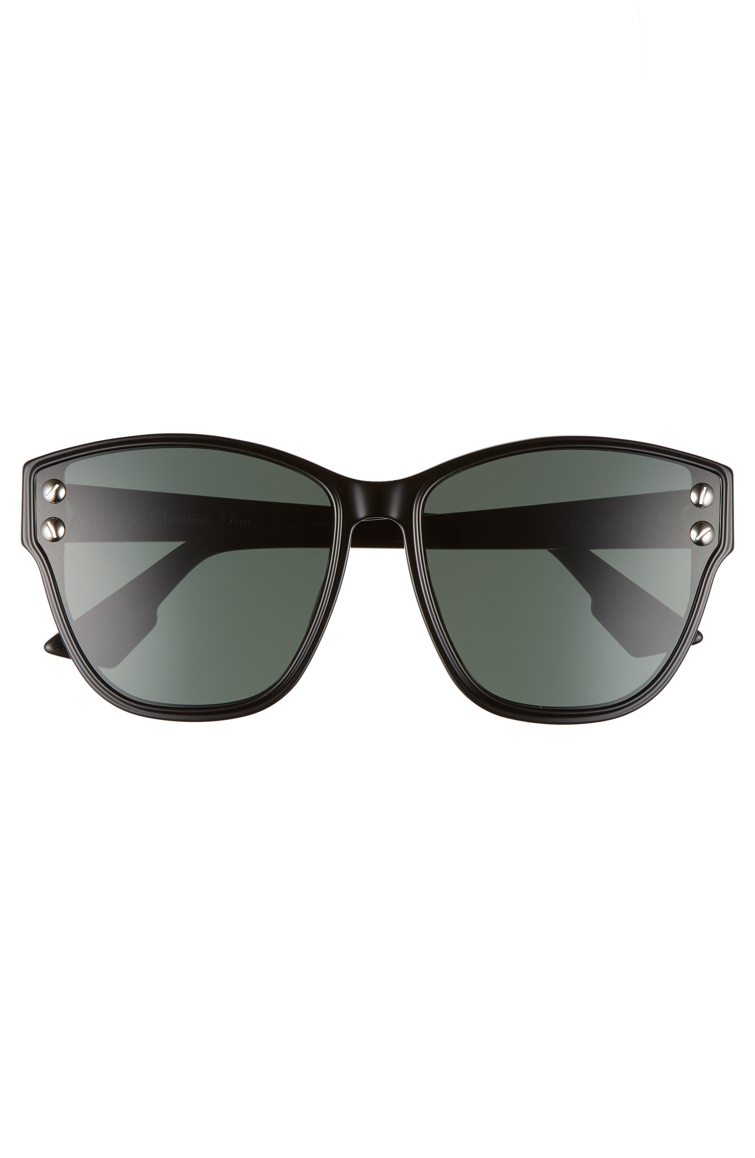 Addict 62mm Special Fit Cat Eye Sunglasses,                             Alternate thumbnail 3, color,                             Black
