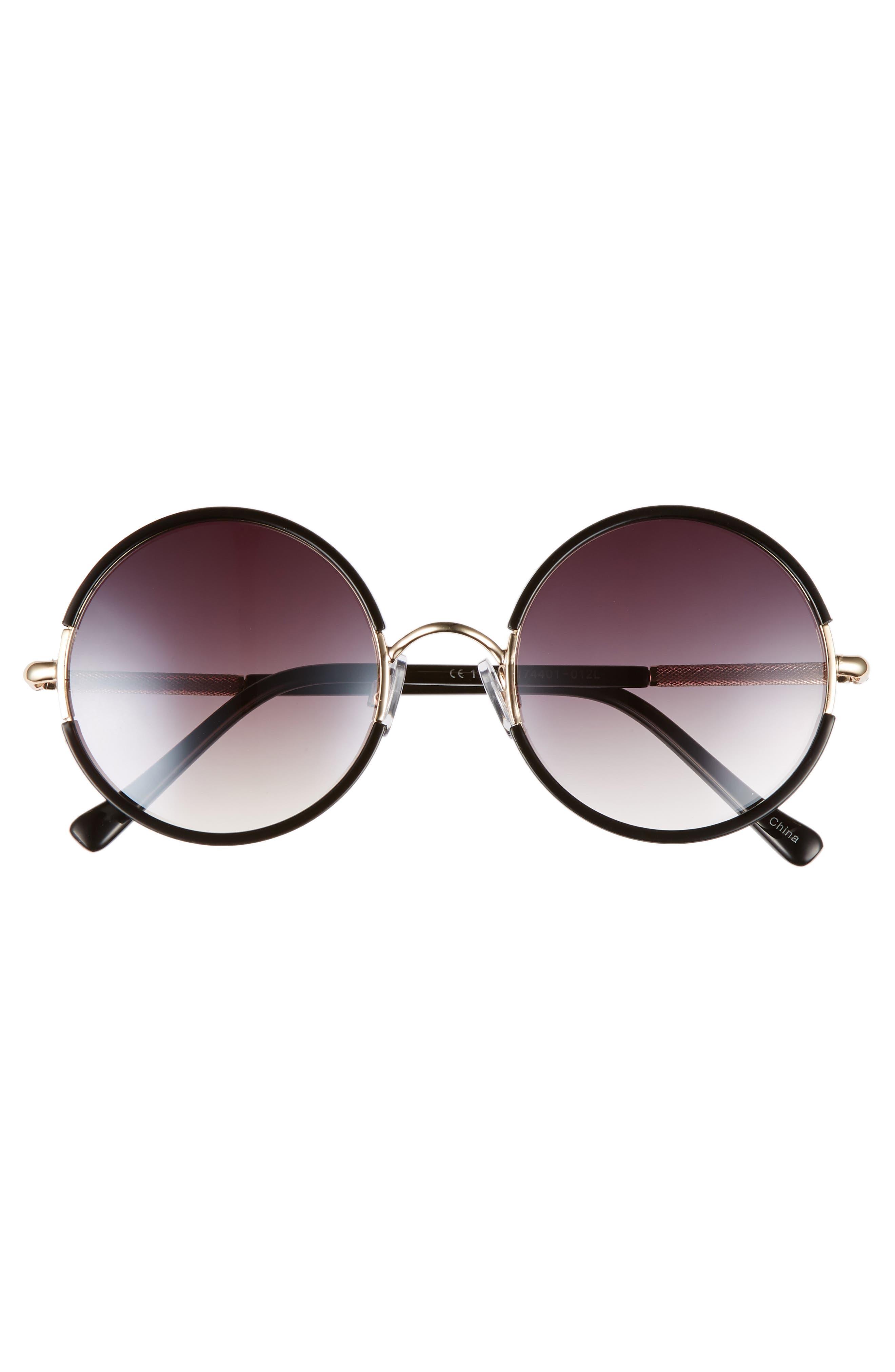 52mm Gradient Round Sunglasses,                             Alternate thumbnail 3, color,                             Black/ Gold