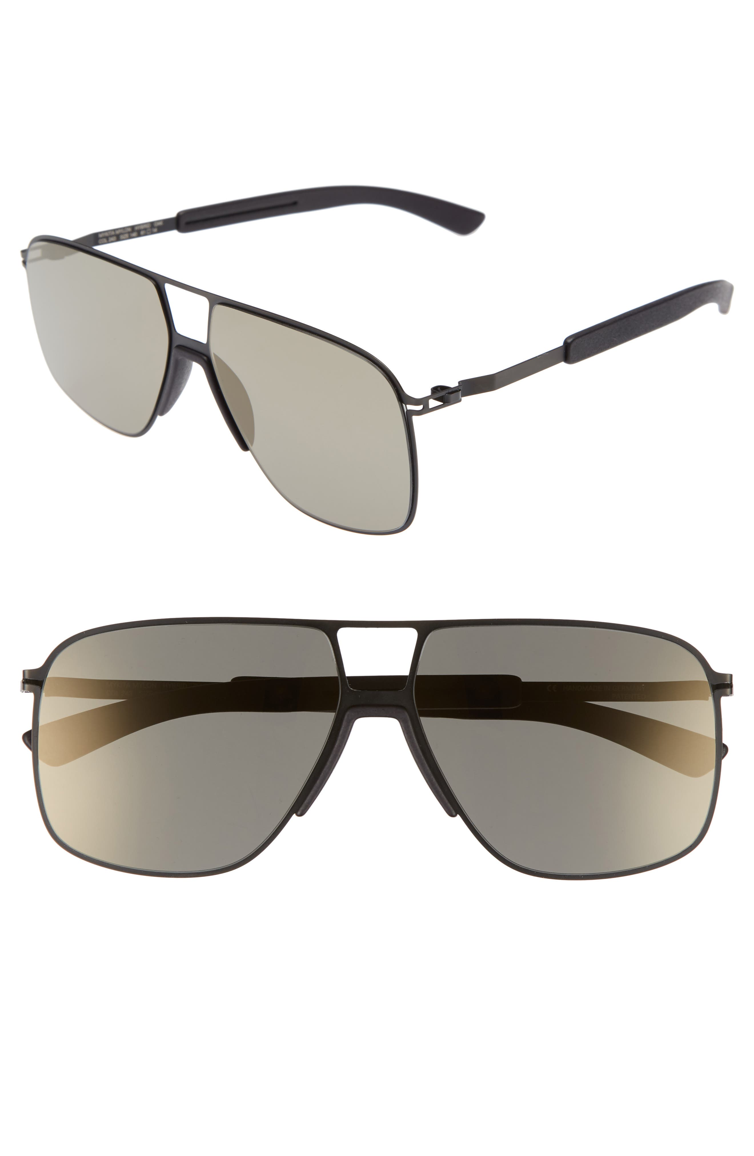 Oak 61mm Aviator Sunglasses,                             Main thumbnail 1, color,                             Black/ Pitch Black