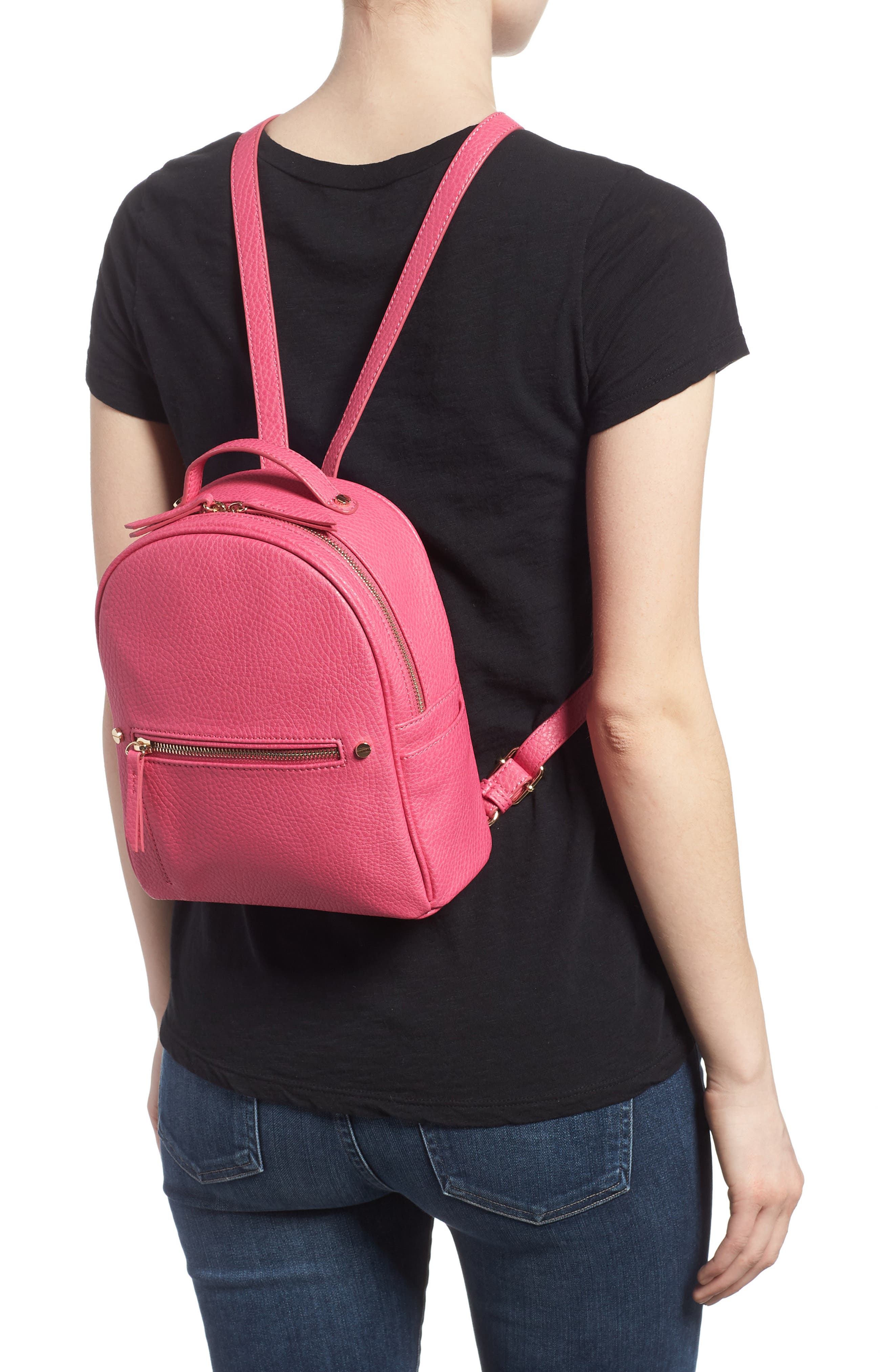 Mali + Lili Hannah Vegan Leather Backpack,                             Alternate thumbnail 2, color,                             Hot Pink