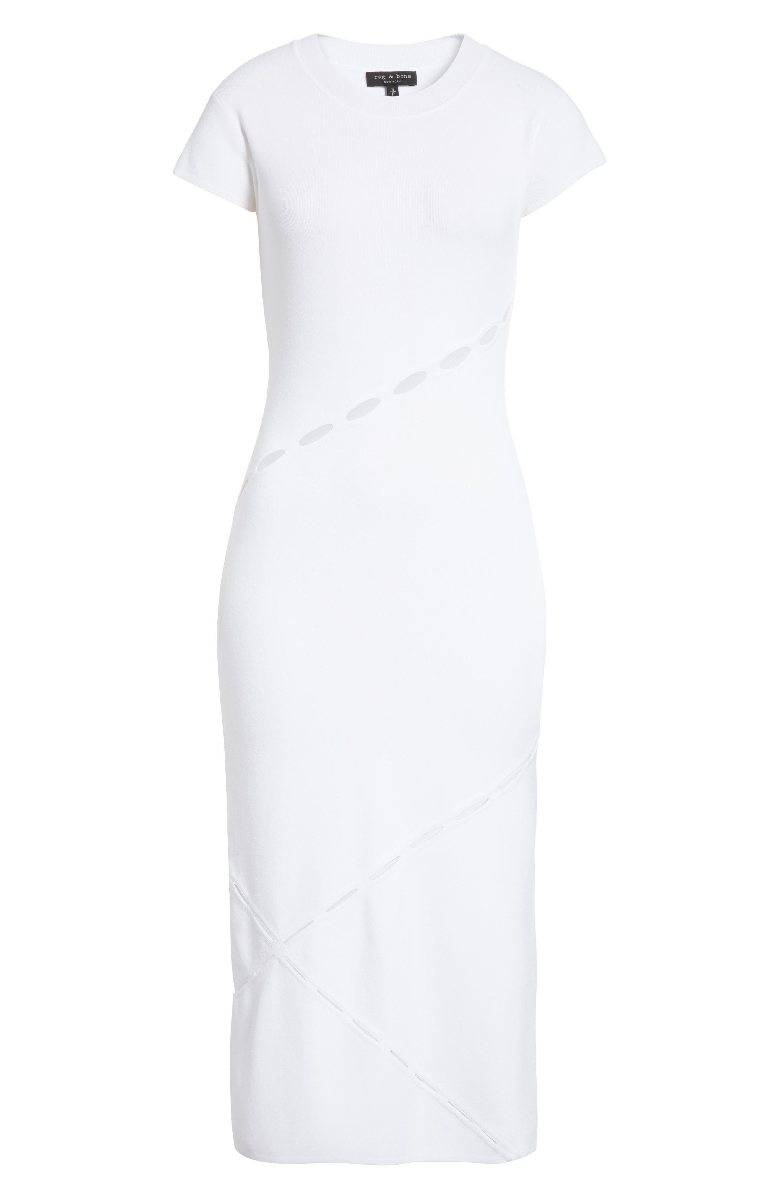 Eden Slash Detail Midi Dress,                             Alternate thumbnail 6, color,                             White