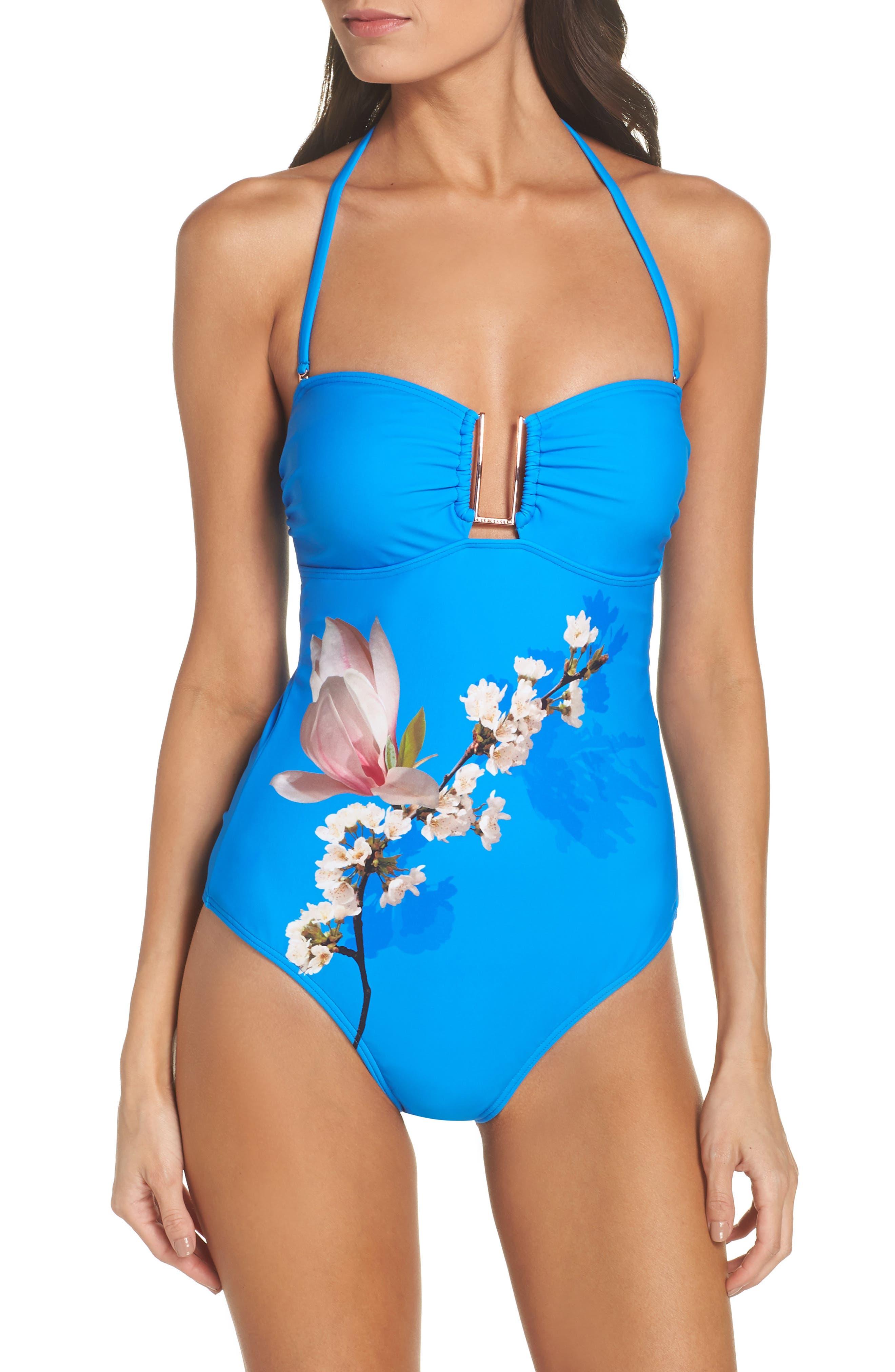 Harmony Bandeau One-Piece Swimsuit,                             Alternate thumbnail 2, color,                             Bright Blue