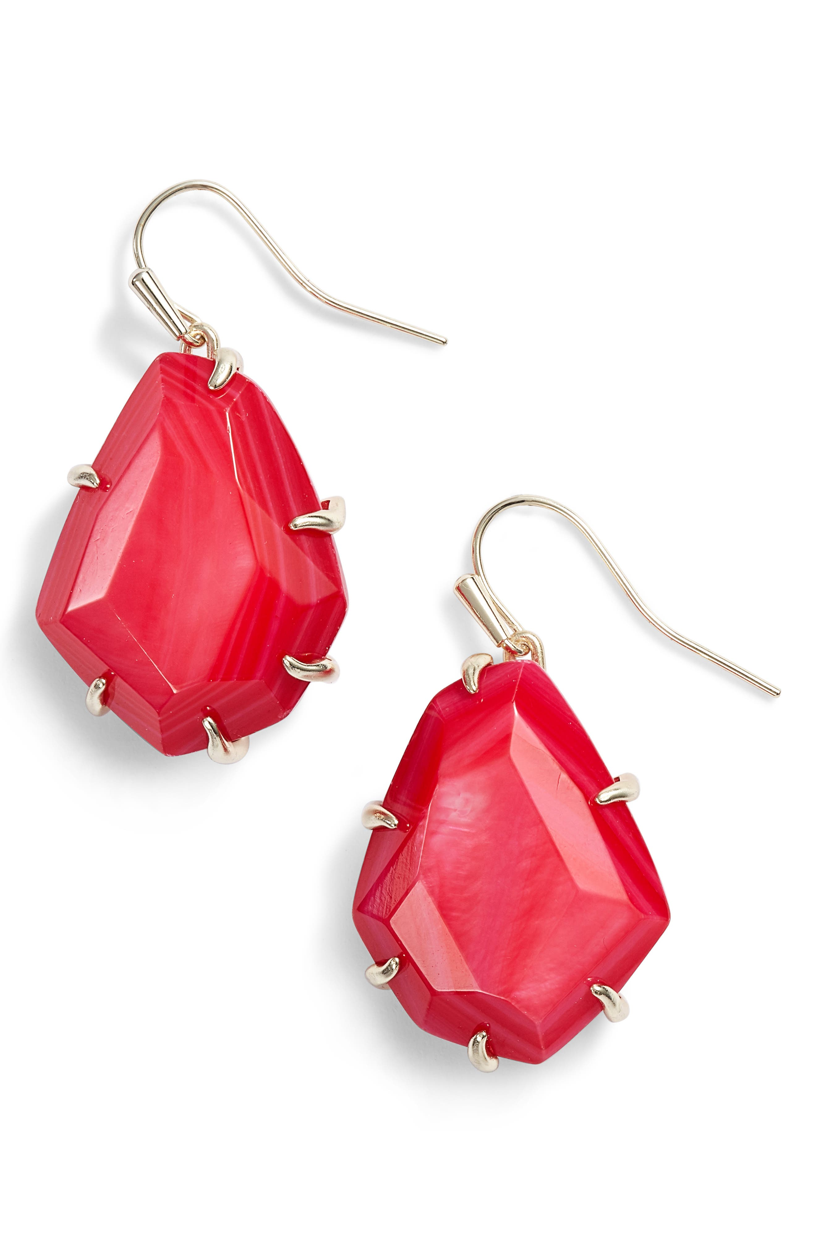 Rosenell Stone Earrings,                             Main thumbnail 1, color,                             Red Mop/ Gold