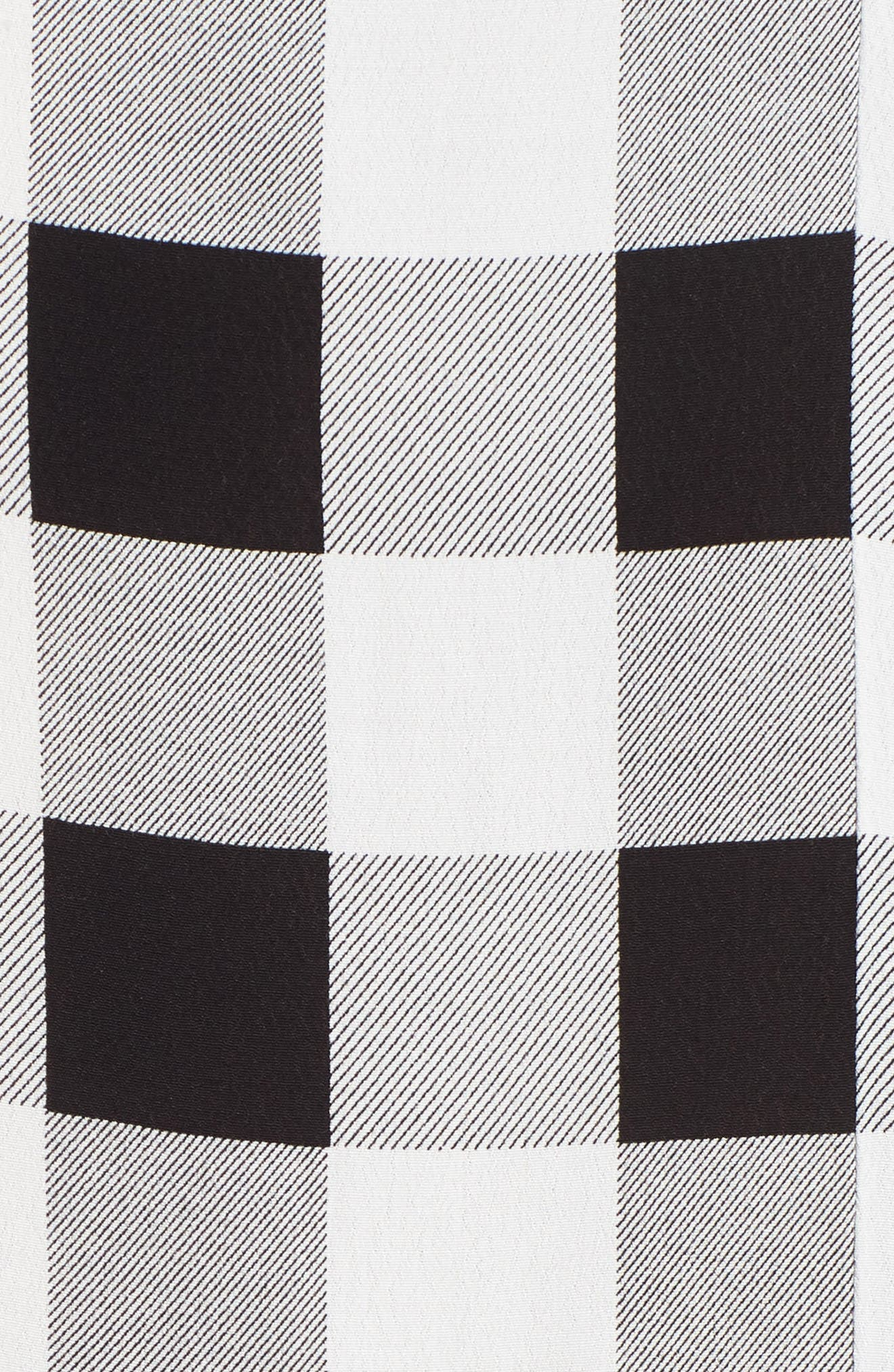 Cora Midi Dress,                             Alternate thumbnail 5, color,                             Noir Blanc Gingham