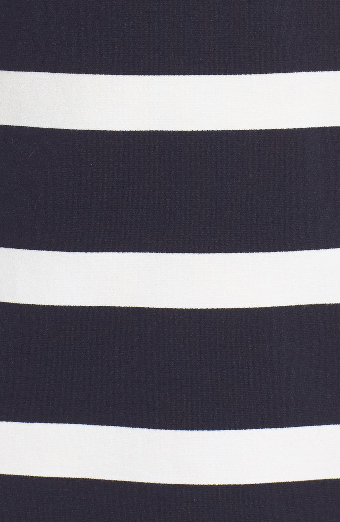 Stripe Balloon Sleeve Shift Dress,                             Alternate thumbnail 6, color,                             Navy/ Ivory