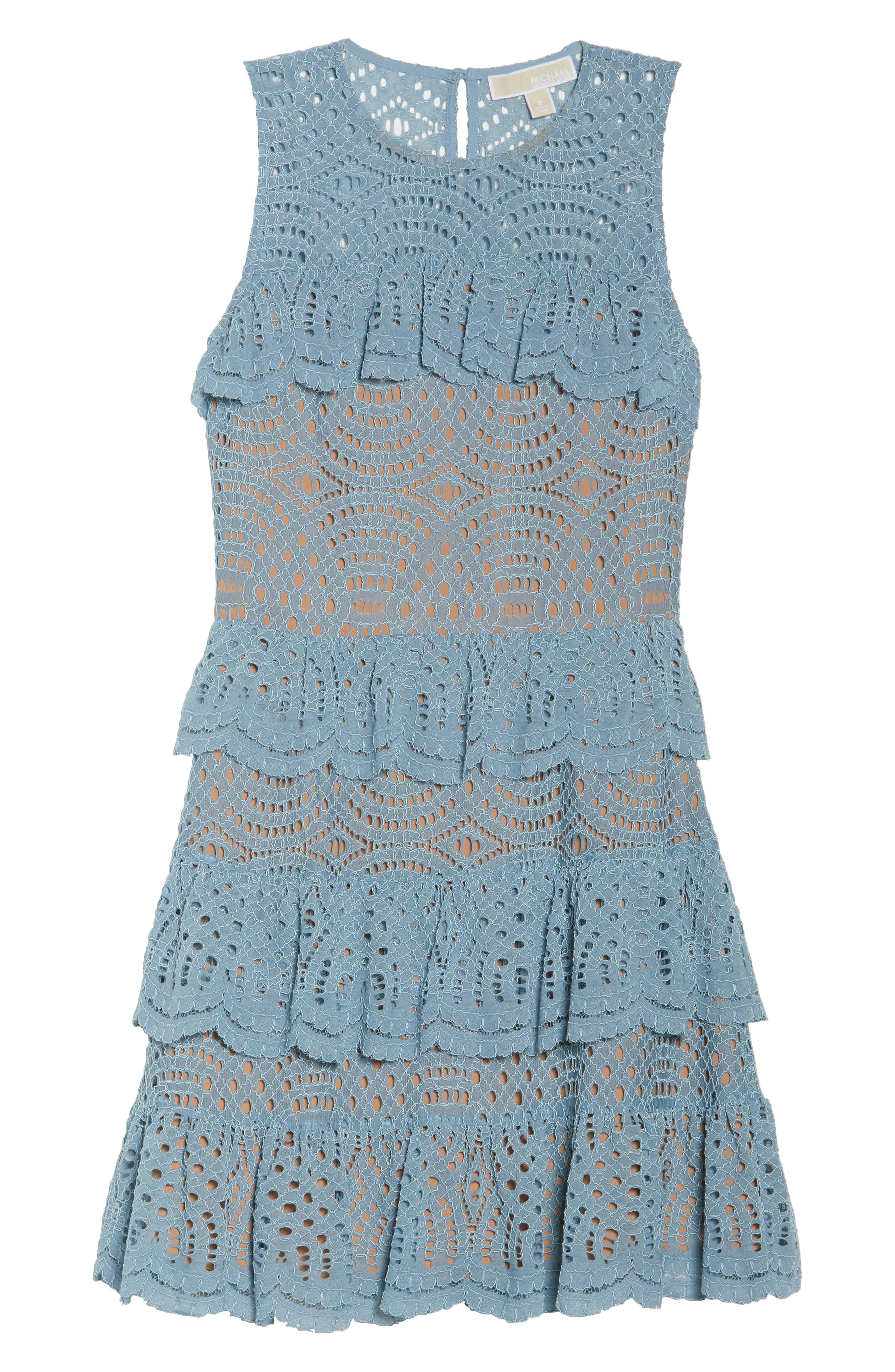 Tiered Lace Dress,                             Alternate thumbnail 7, color,                             Chambray