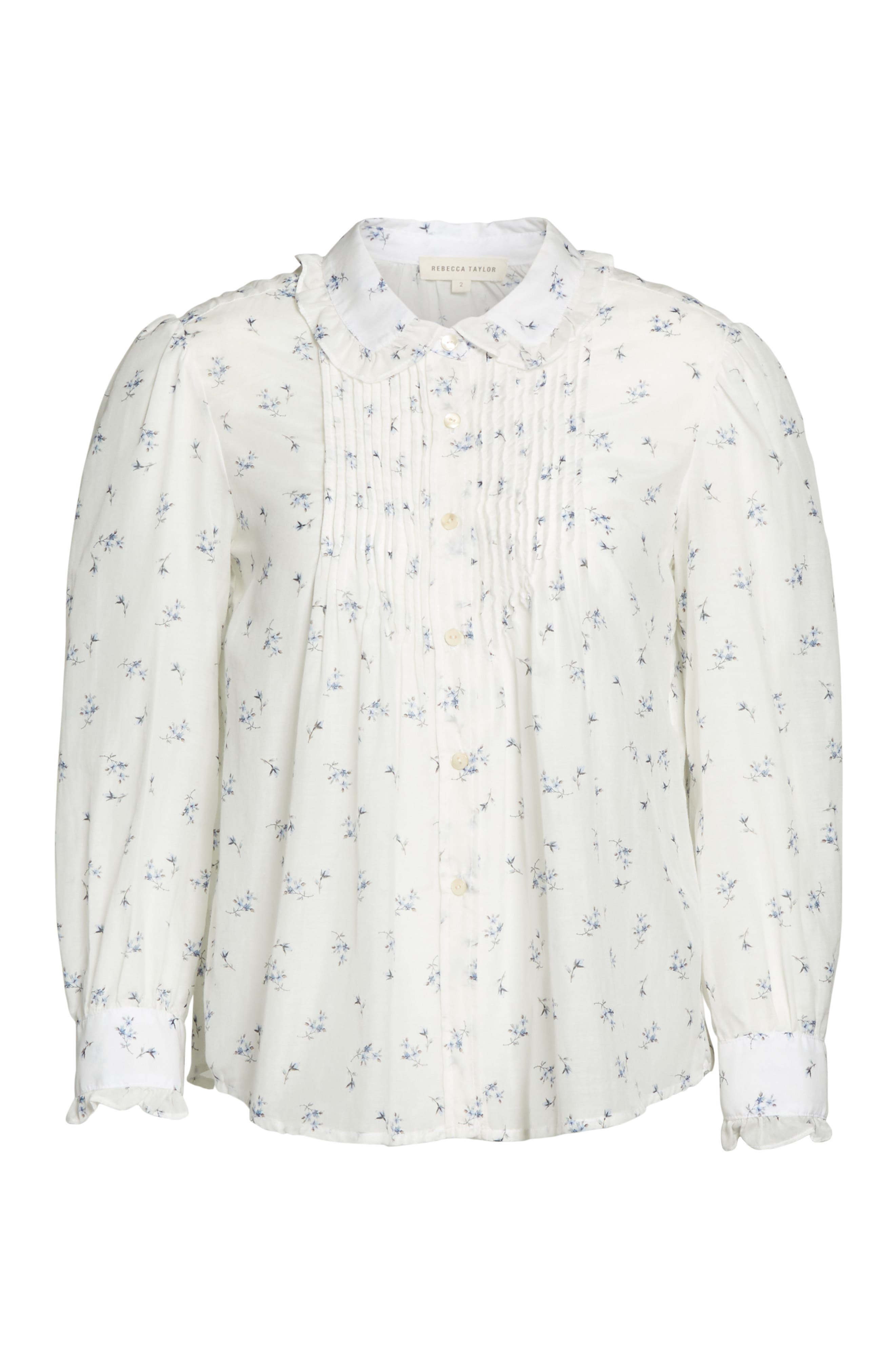 Floral Spring Blouse,                             Alternate thumbnail 6, color,                             Snow Combo