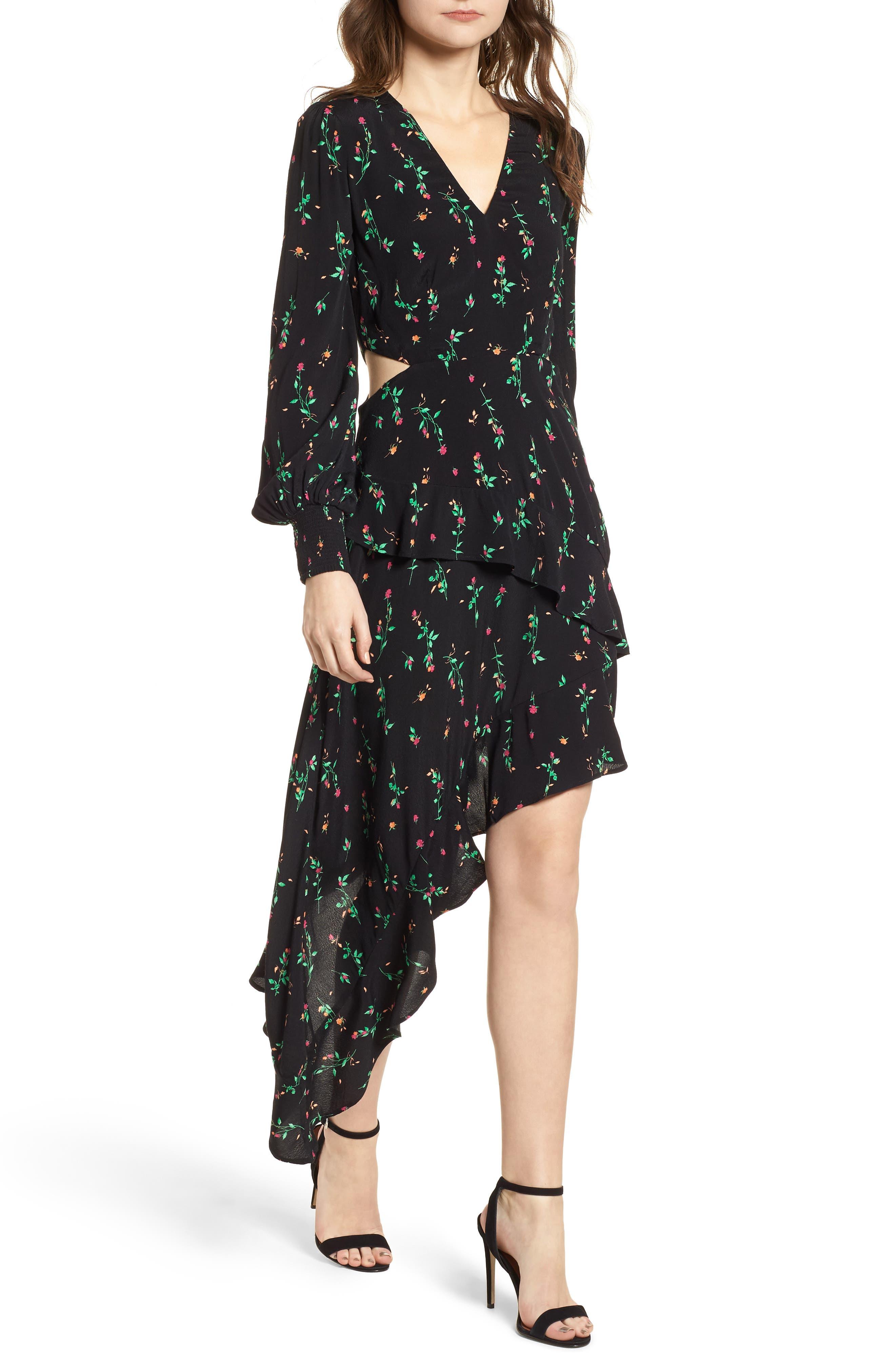 Mabel Cutout Asymmetrical Dress,                         Main,                         color, Noir Rose Ditsy