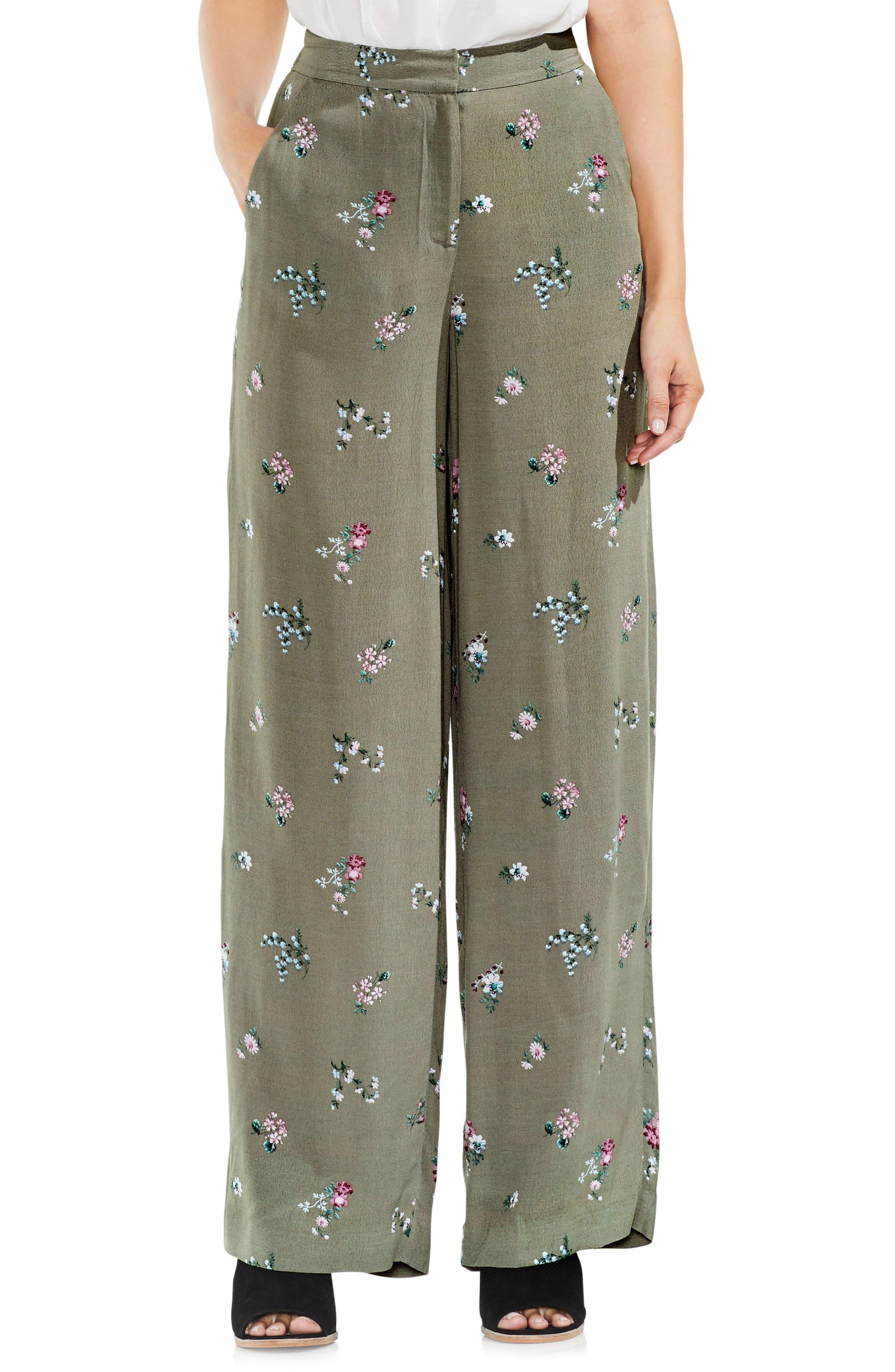 Delicate Floral Wide Leg Pants,                         Main,                         color, Camo Green