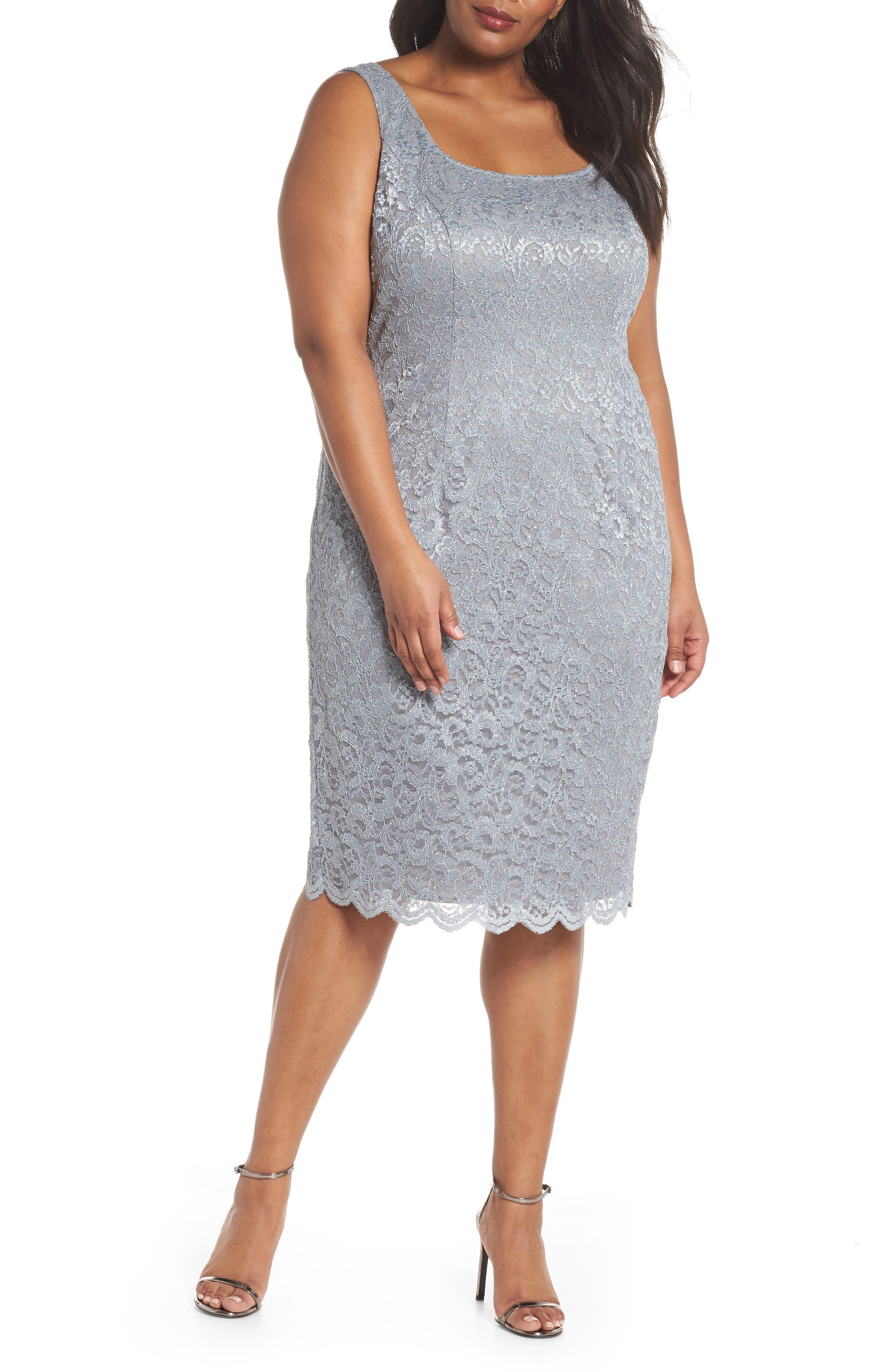 Lace Sheath Dress with Bolero Jacket,                             Alternate thumbnail 3, color,                             Silver