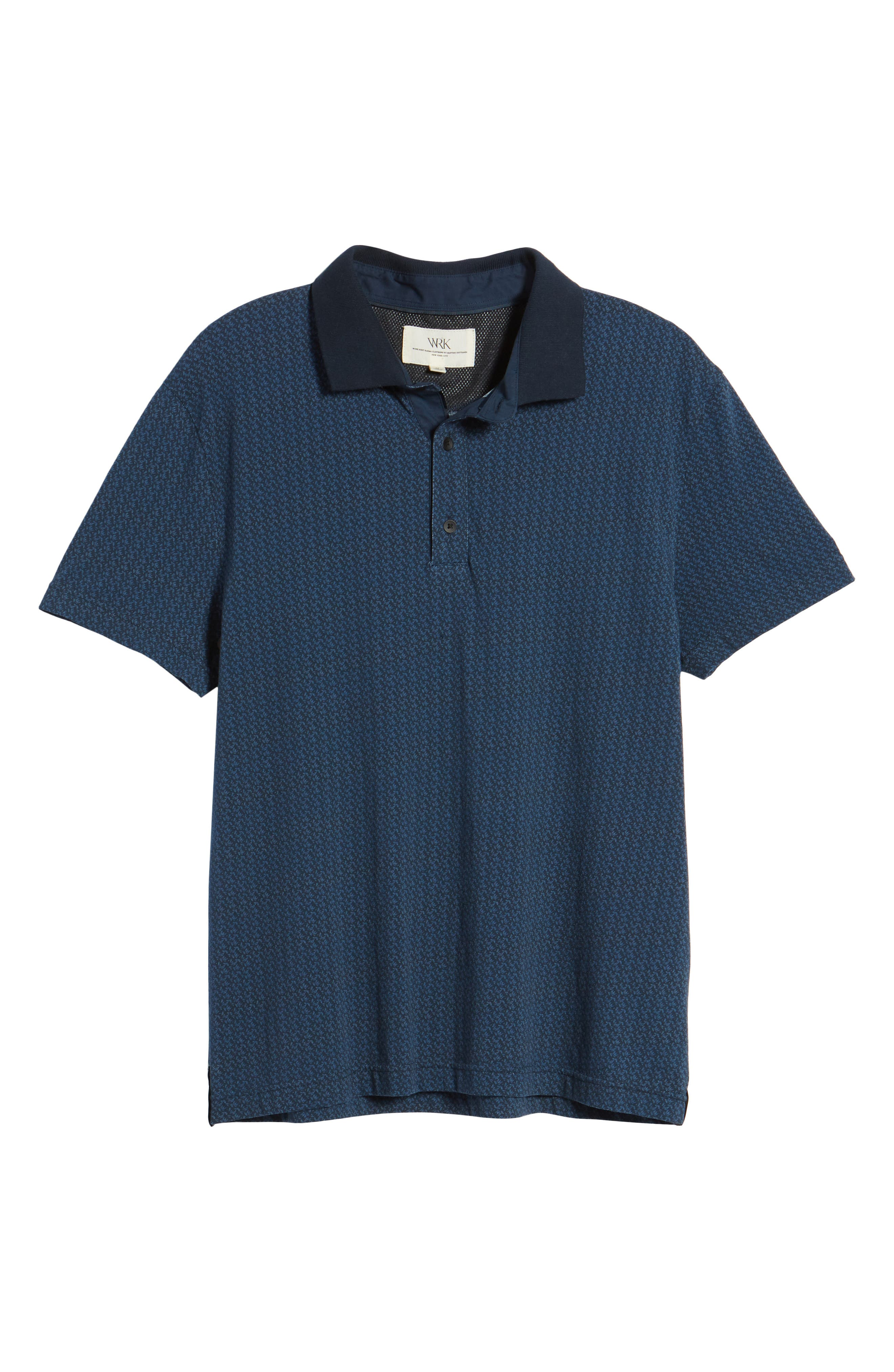 Reworked Slim Fit Leaf Print Polo,                             Alternate thumbnail 6, color,                             Navy