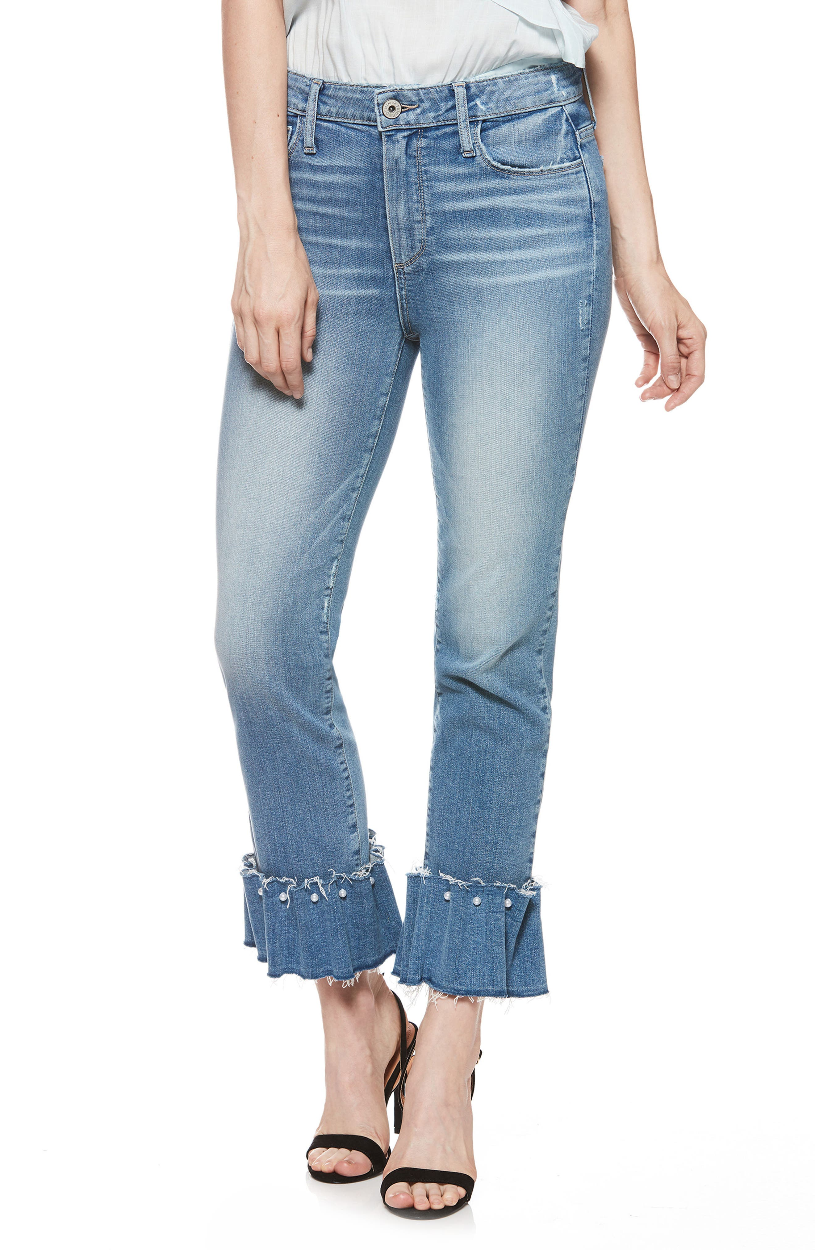 PAIGE Transcend Vintage - Hoxton Embellished Ruffle High Waist Jeans (Palms)