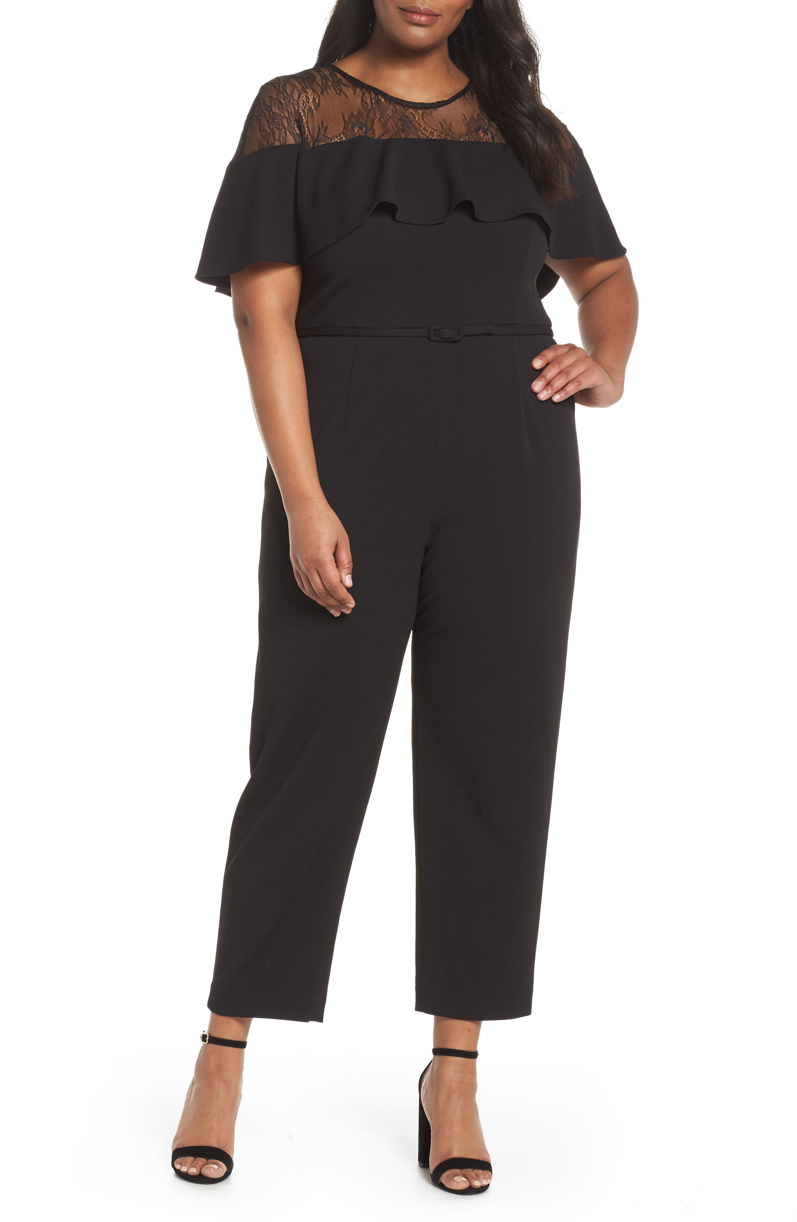 Main Image - Adrianna Papell Lace Illusion Ruffle Jumpsuit (Plus Size)