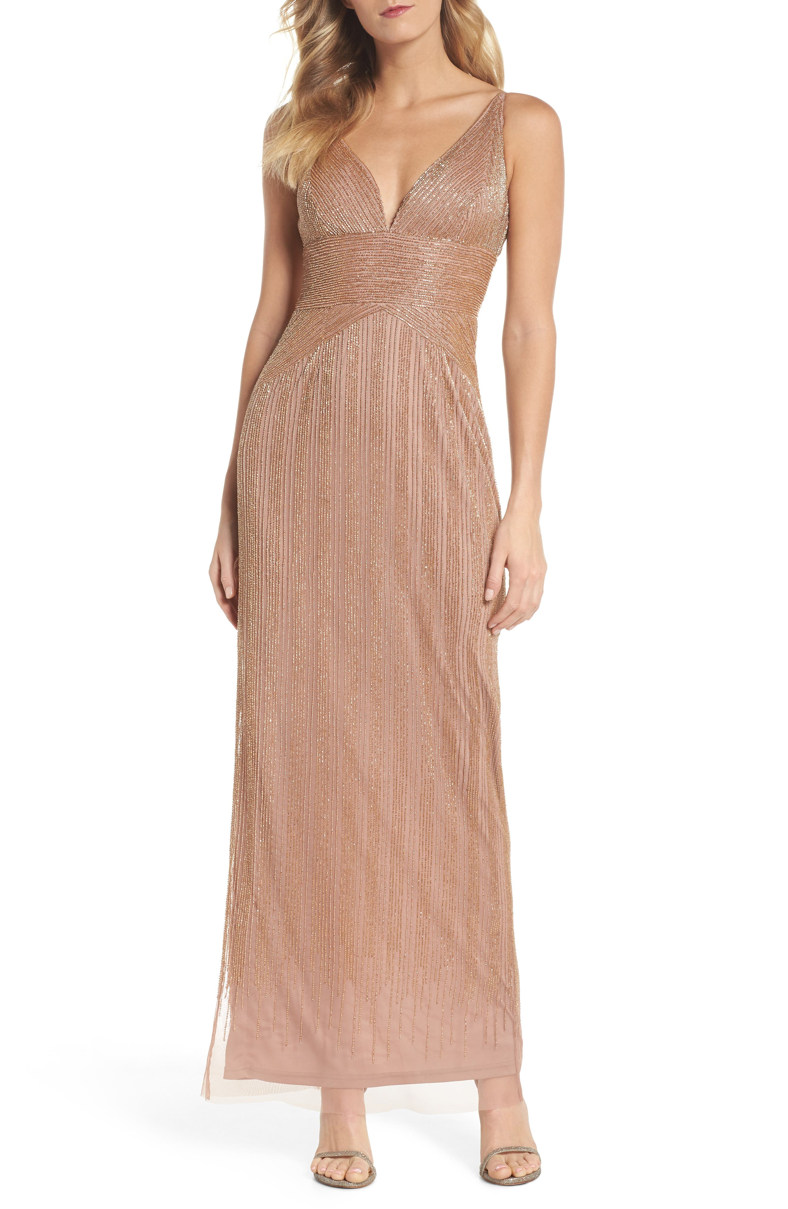 Beaded Gown,                         Main,                         color, Rose Gold