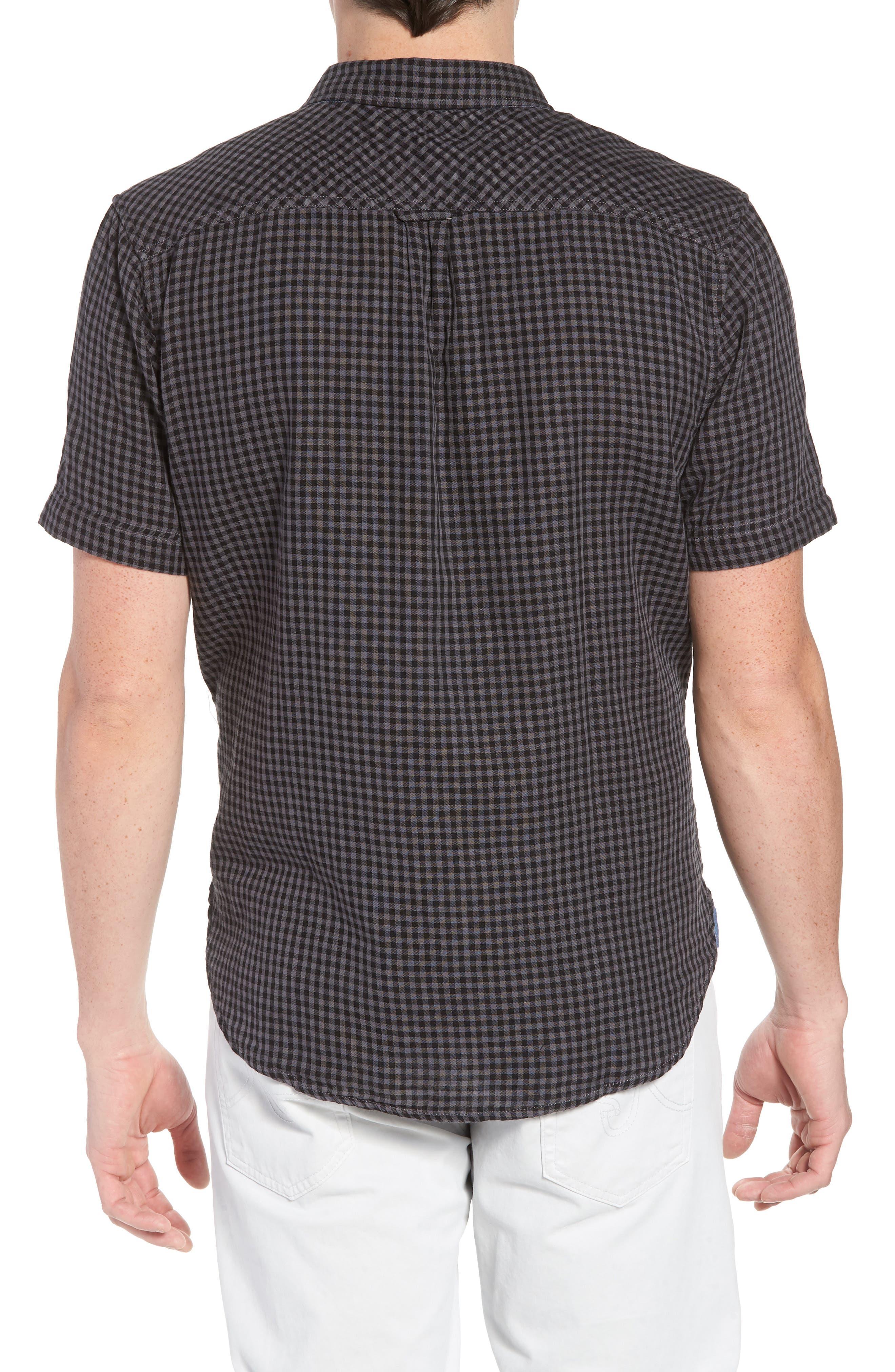 Soho Gingham Sport Shirt,                             Alternate thumbnail 3, color,                             Black Charcoal
