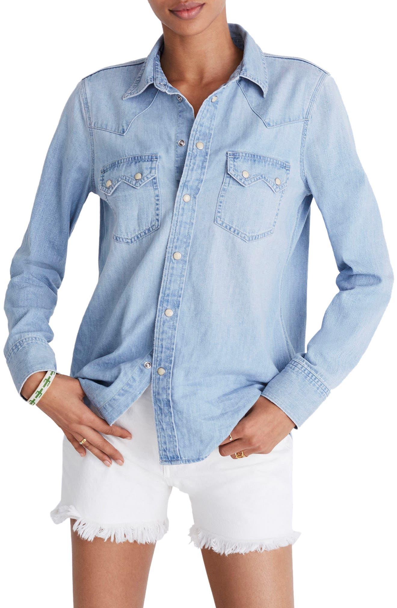 Denim Western Shirt,                         Main,                         color, Long Bourne Wash