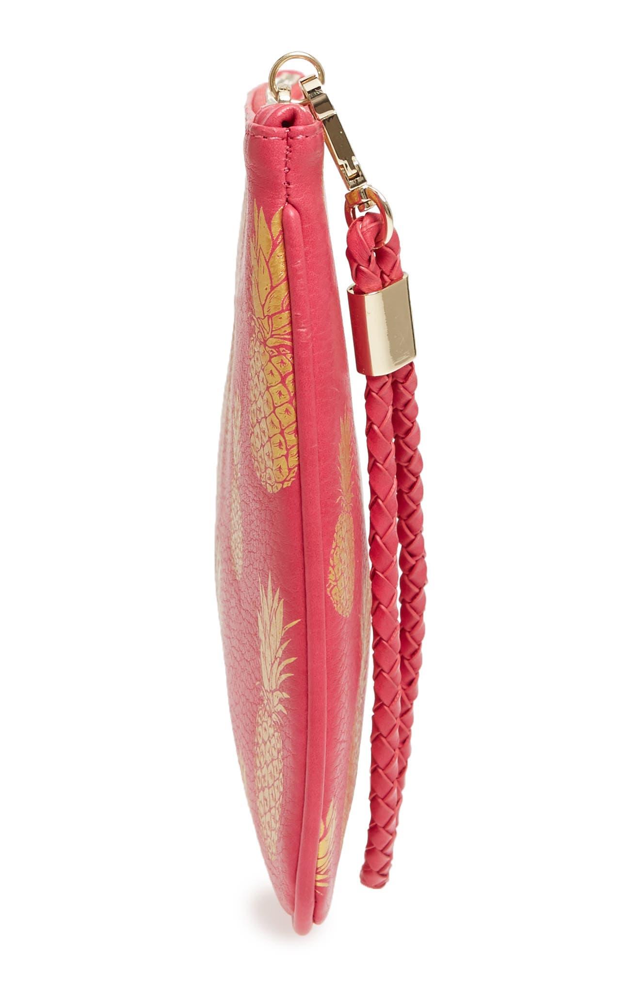 Mali + Lili Alice Pineapple Print Vegan Leather Clutch,                             Alternate thumbnail 5, color,                             Hot Pink