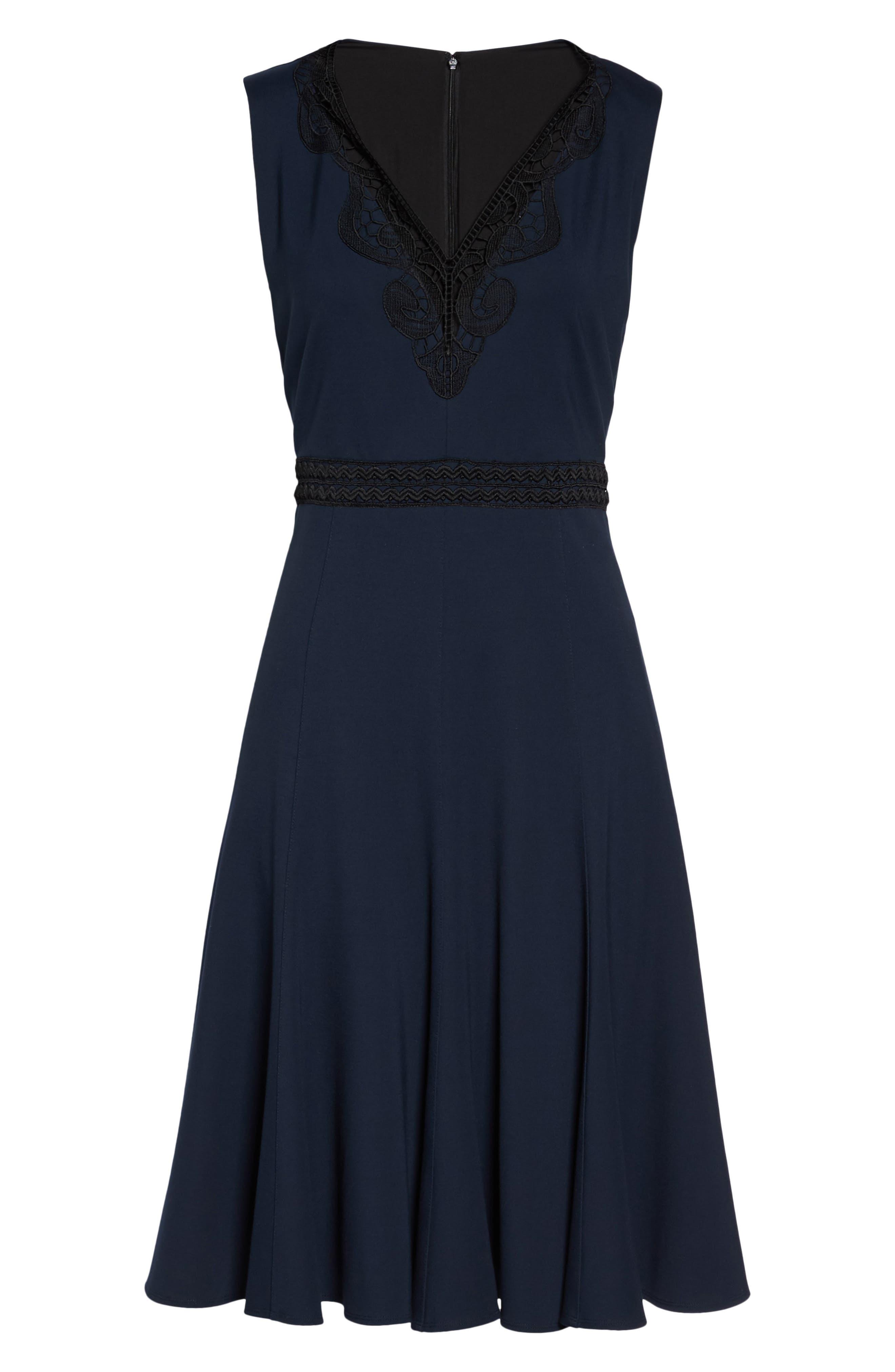 Hazel Lace Trim V-Neck Dress,                             Alternate thumbnail 6, color,                             Midnight Blue/ Black