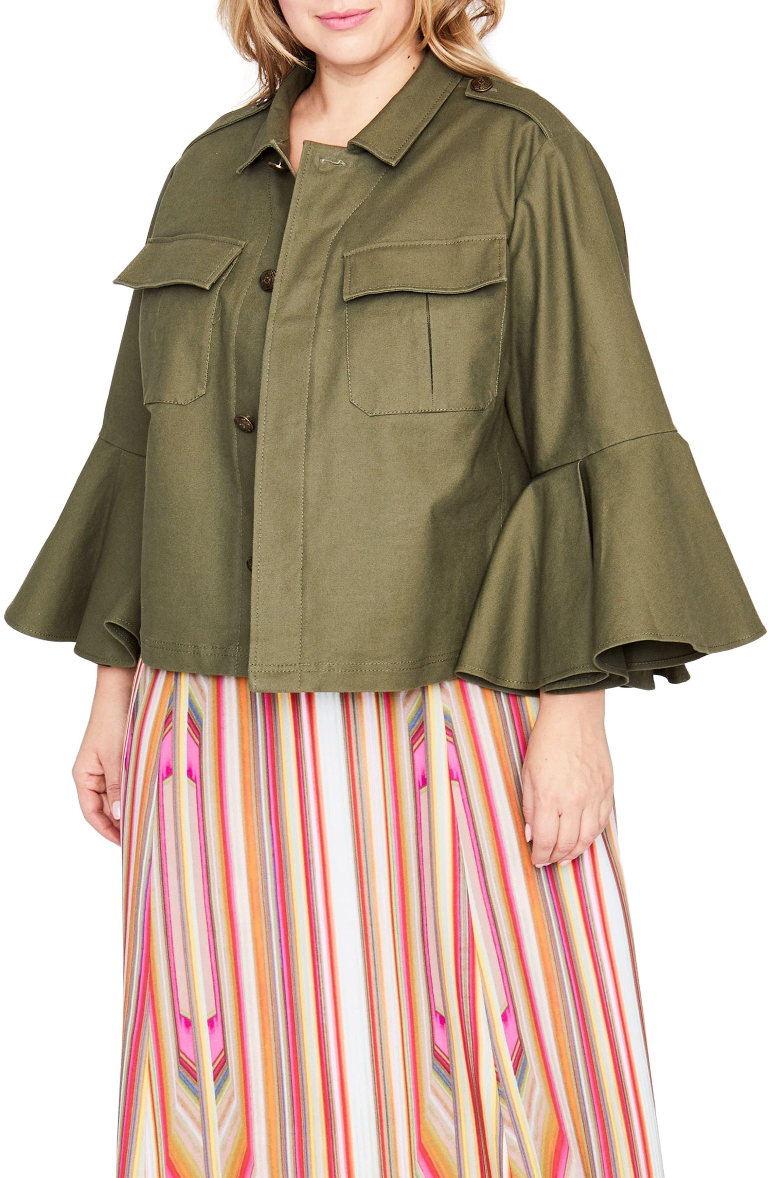 Ruffle Sleeve Utility Jacket,                             Main thumbnail 1, color,                             Army Green