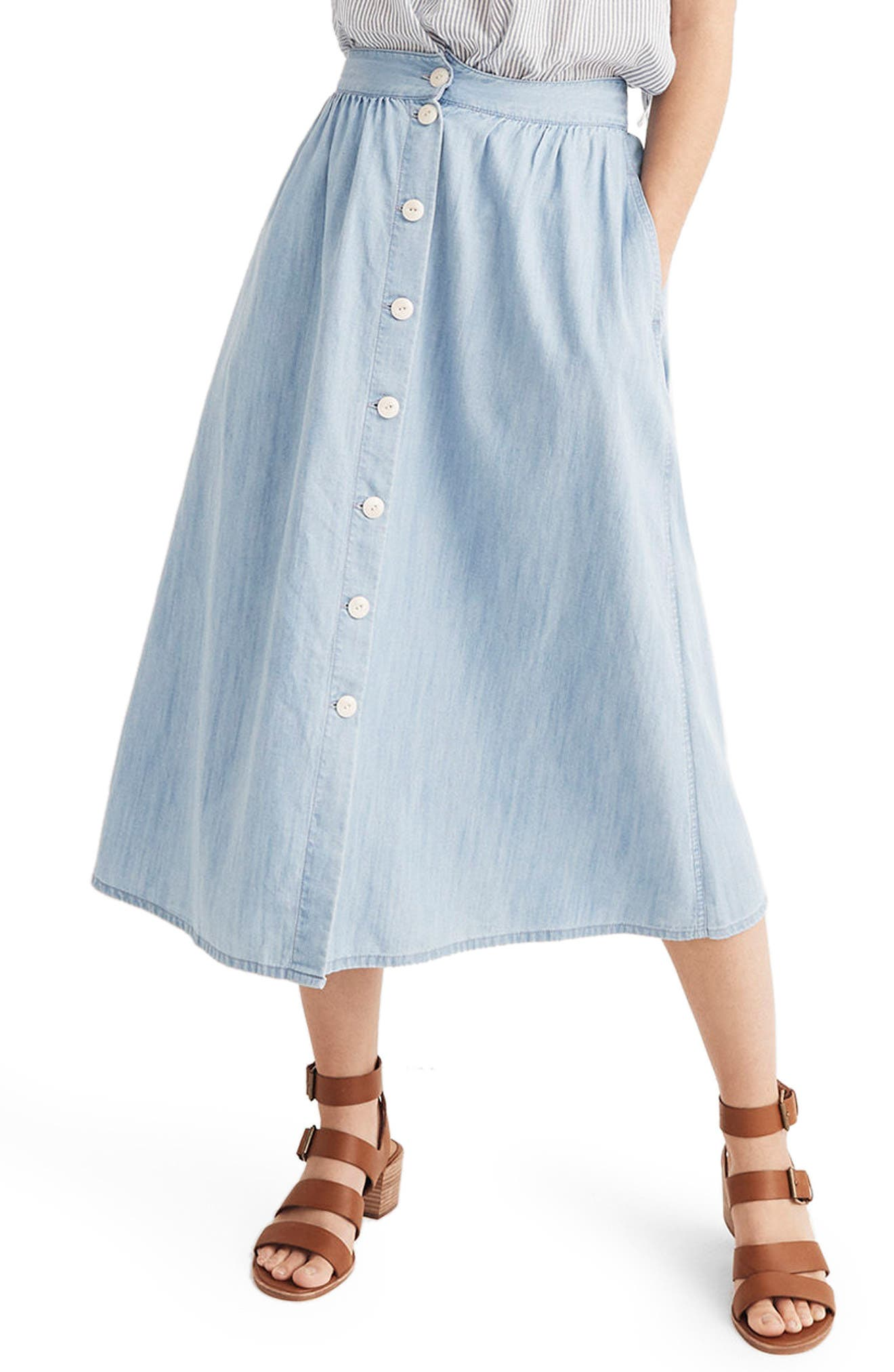 Button Front Midi Skirt,                             Main thumbnail 1, color,                             Altamira Wash