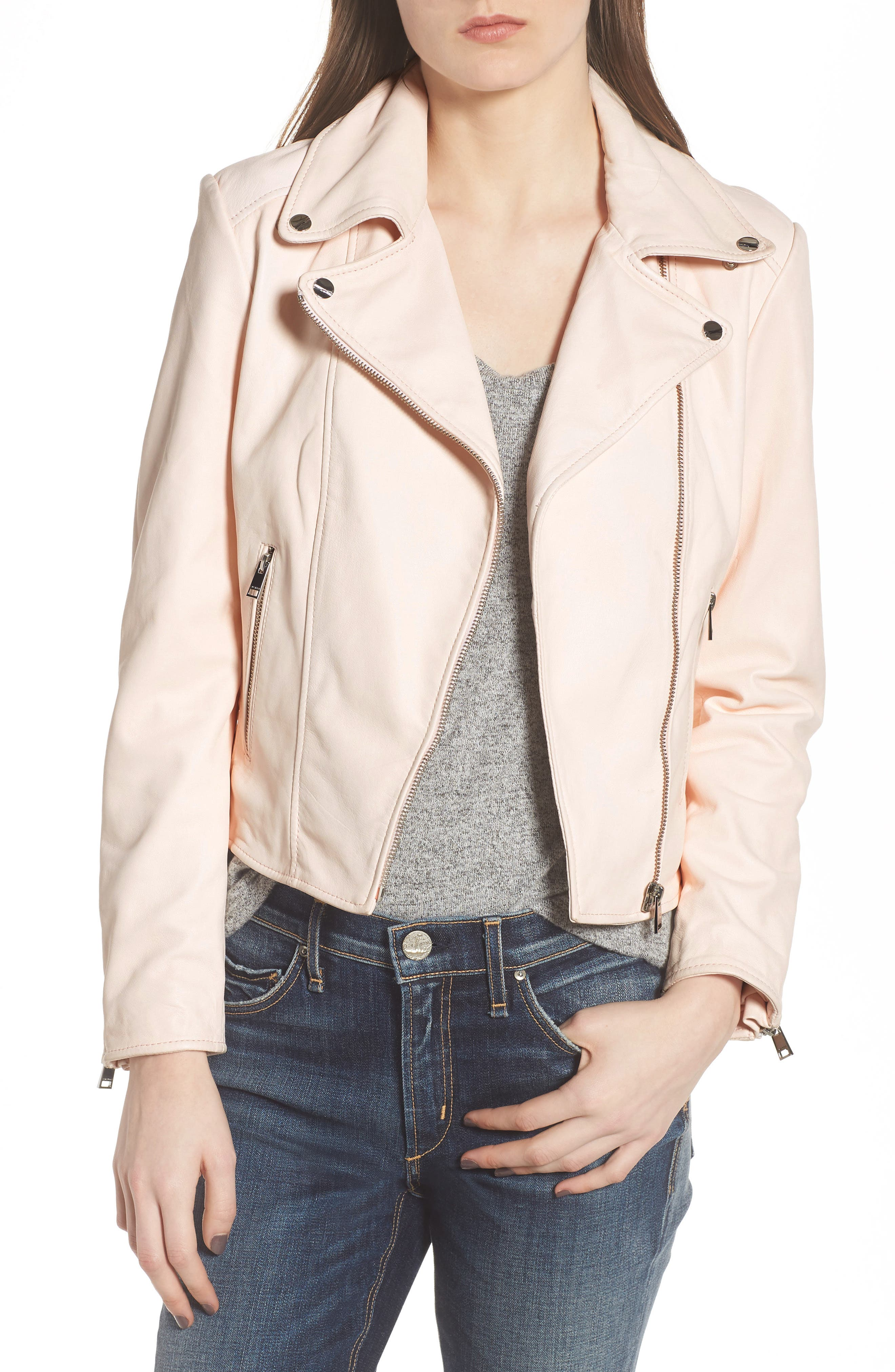 Eco-Friendly Leather Moto Jacket,                             Main thumbnail 1, color,                             Light Pink