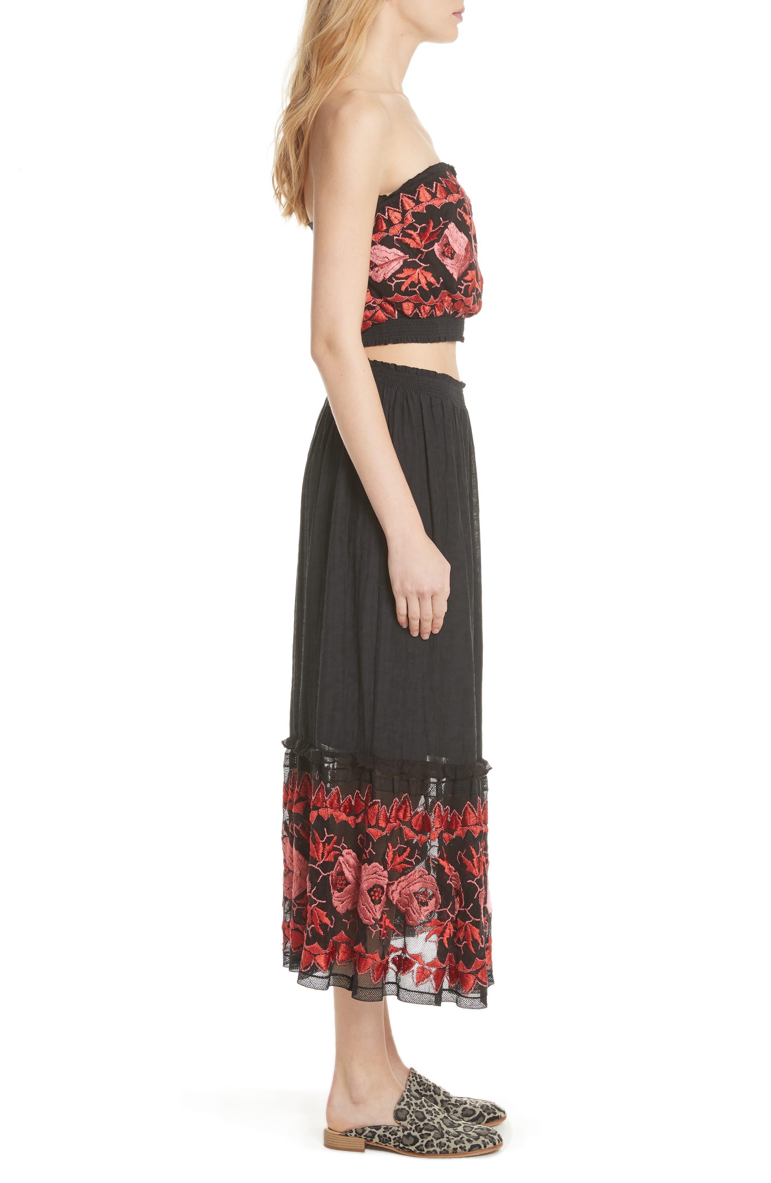 Rosebud Top & Skirt,                             Alternate thumbnail 3, color,                             Black Combo