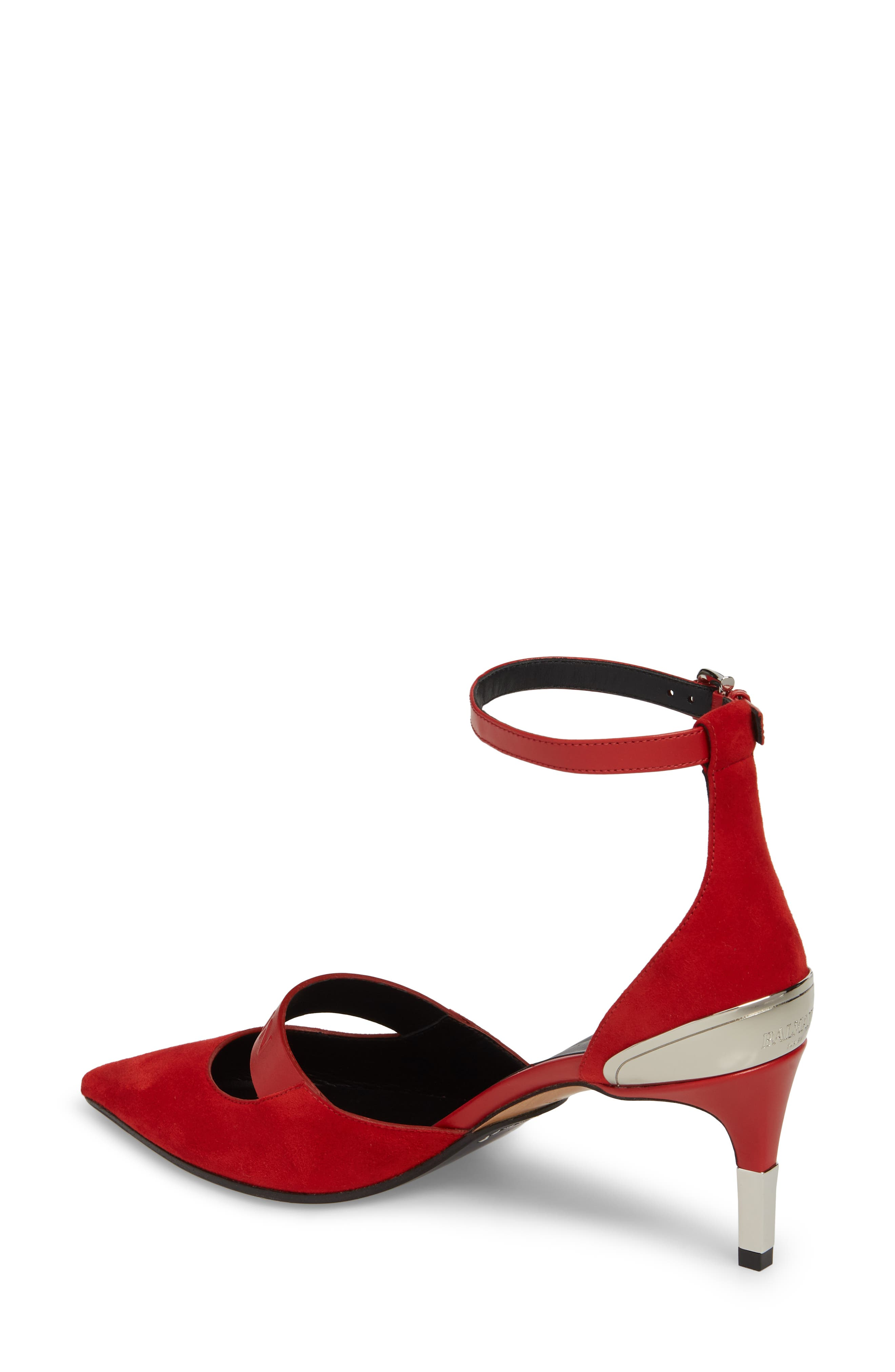 Chance Ankle Strap Pointy Toe Pump,                             Alternate thumbnail 2, color,                             Red