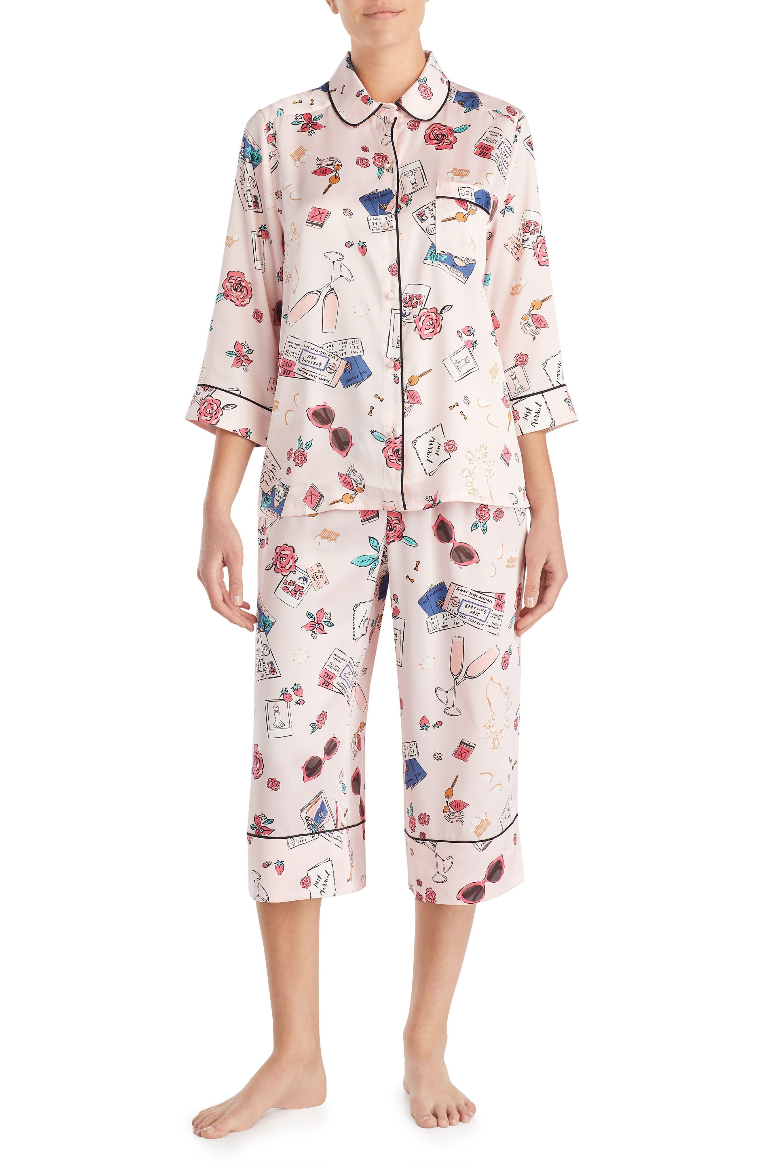 print charmeuse crop pajamas,                         Main,                         color, Honeymoon Print