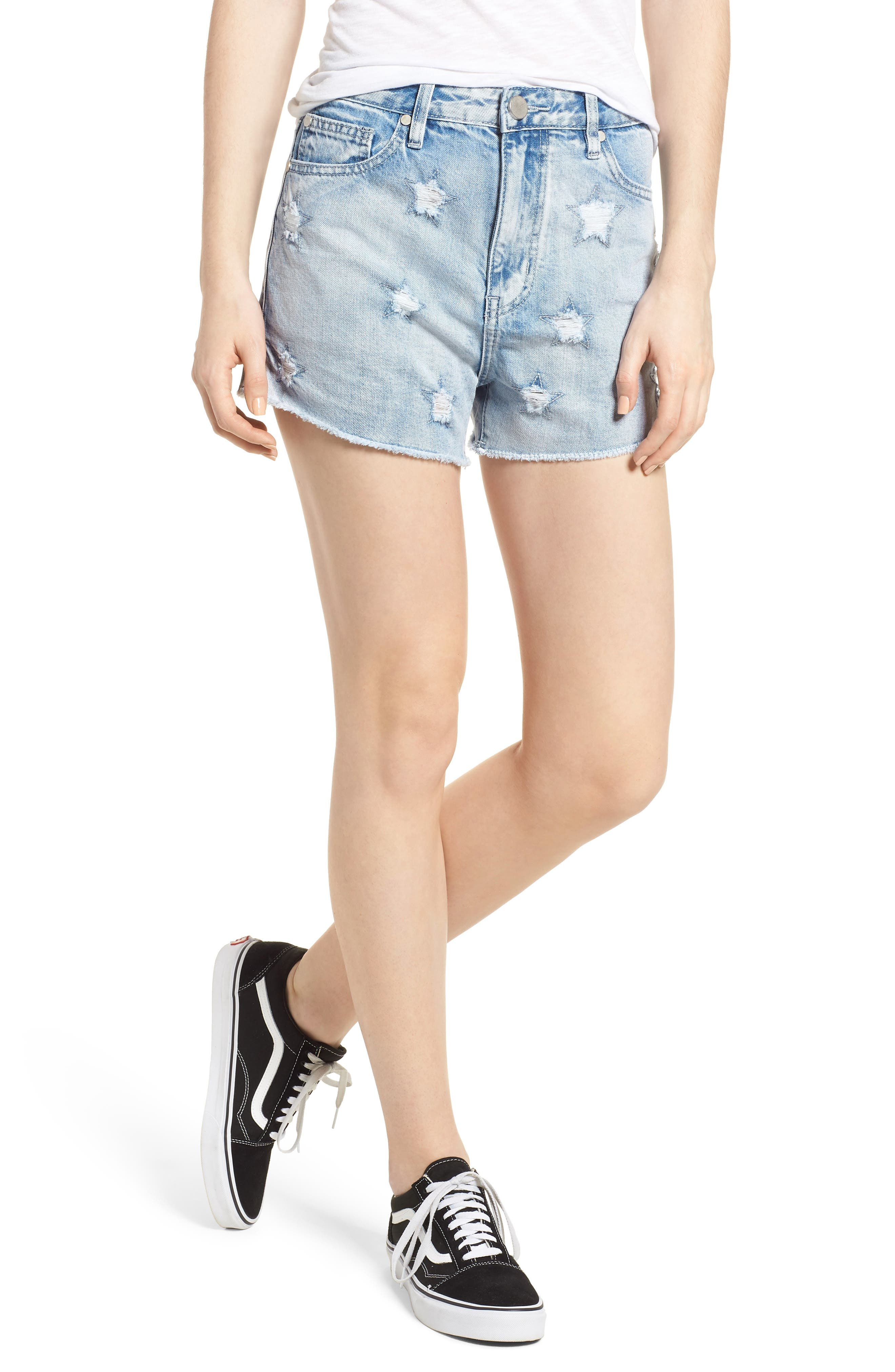 Acid Wash Star Denim Shorts,                         Main,                         color, Super Light Acid