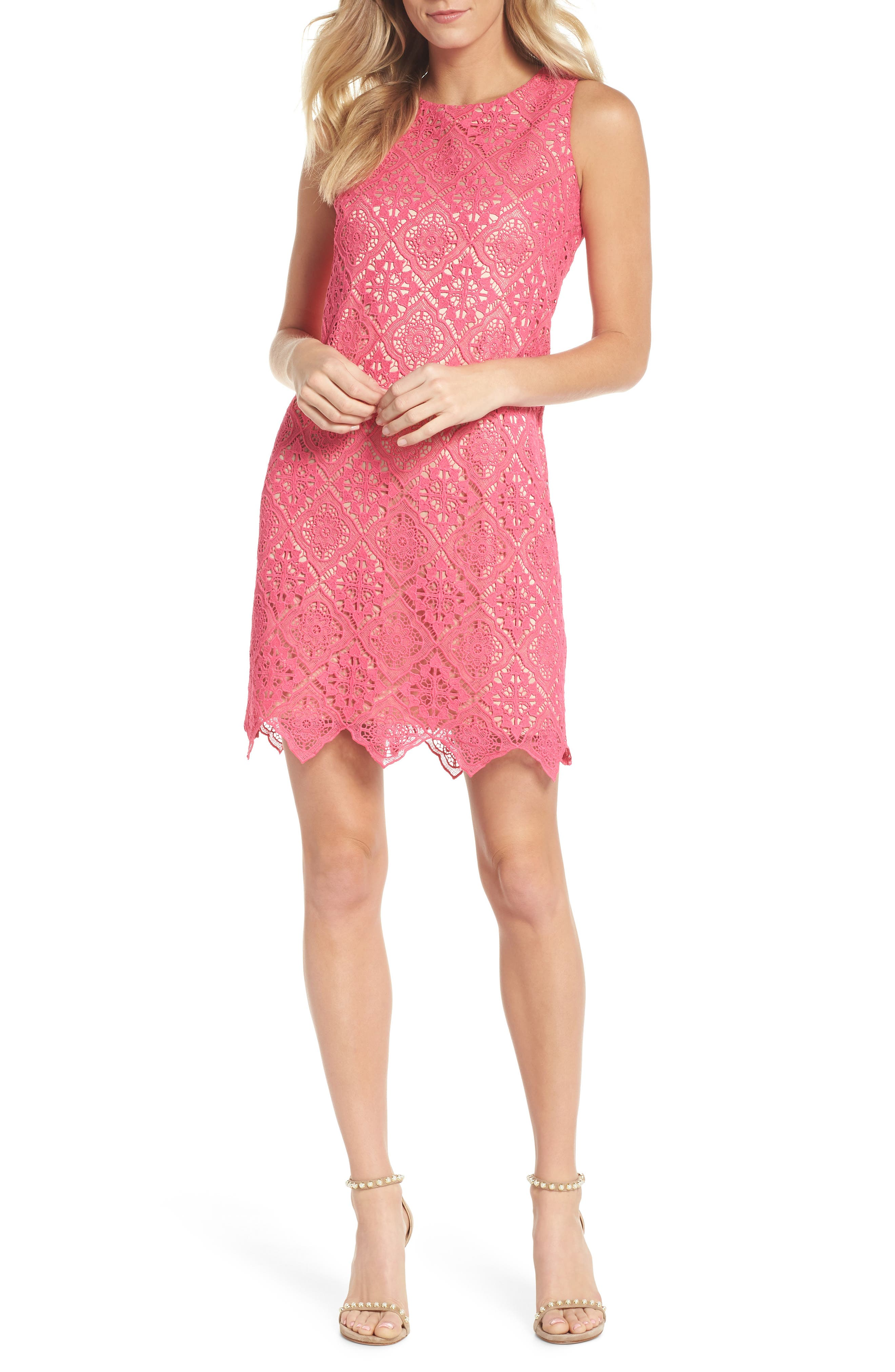 Sleeveless Lace Shift Dress,                         Main,                         color, Hot Pink